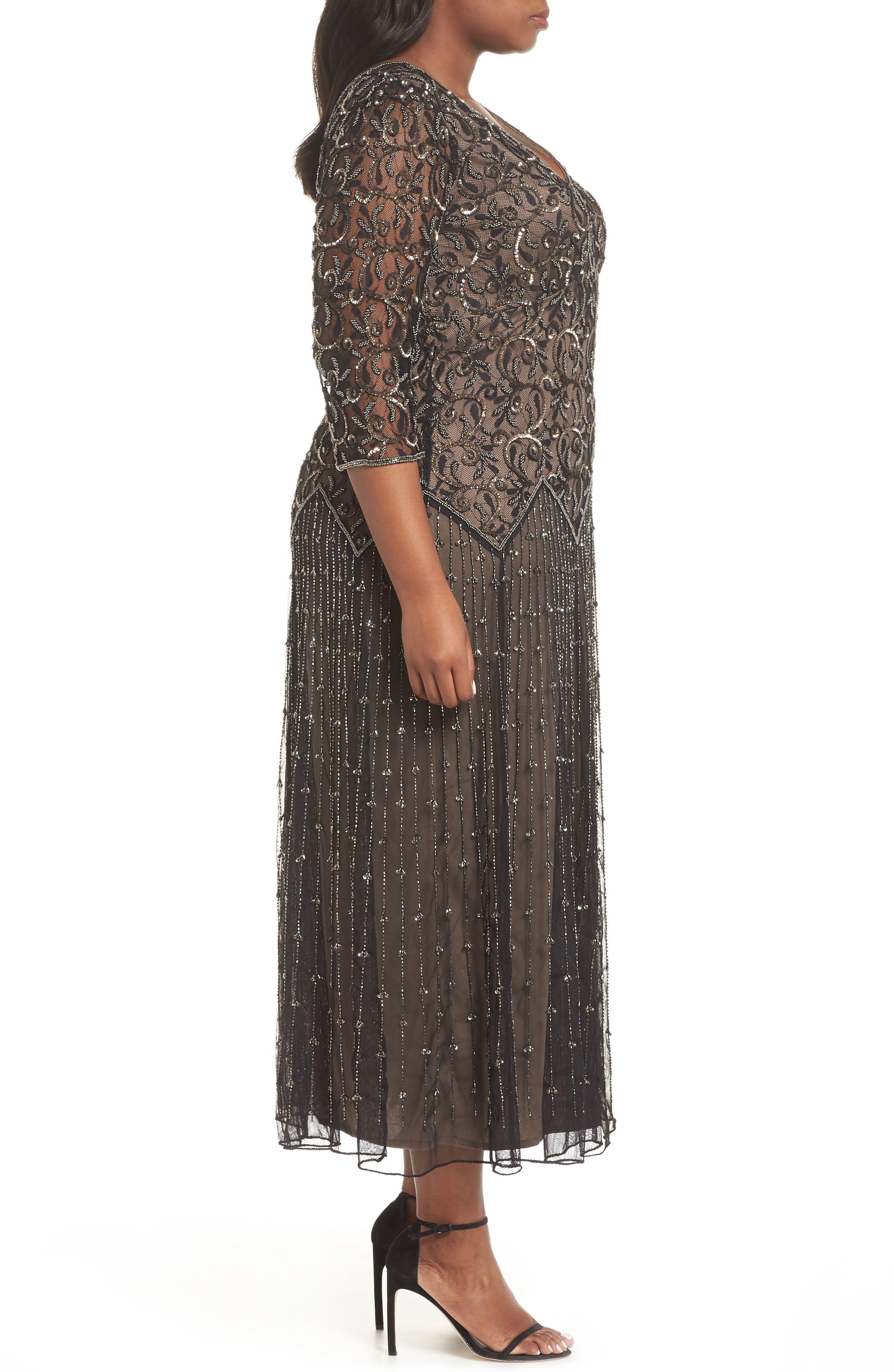 Embellished Mesh Gown,                             Alternate thumbnail 3, color,                             BLACK