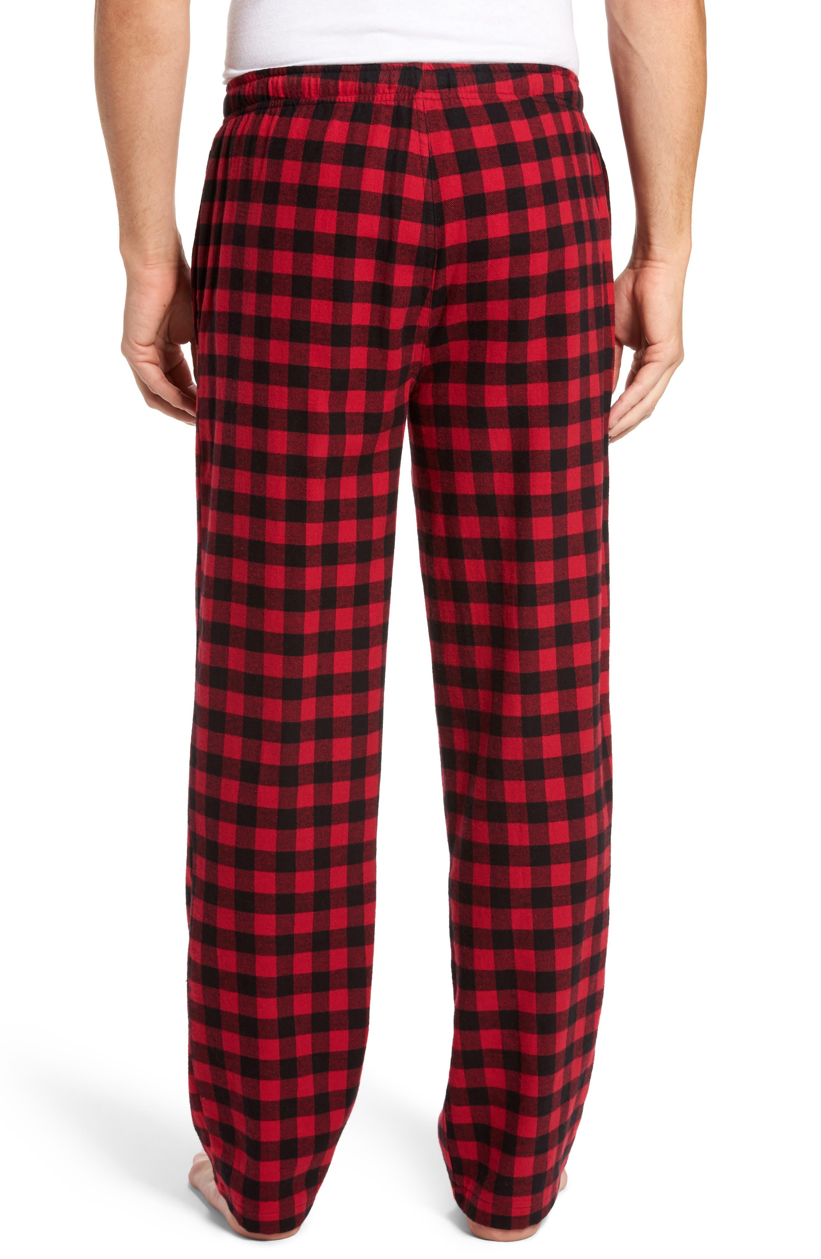Flannel Pajama Pants,                             Alternate thumbnail 2, color,                             RED CHILI- BLACK BUFFALO