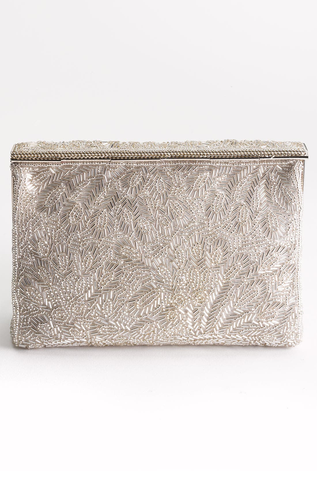 'Meadow' Beaded Frame Clutch,                             Alternate thumbnail 4, color,                             SILVER BEAD