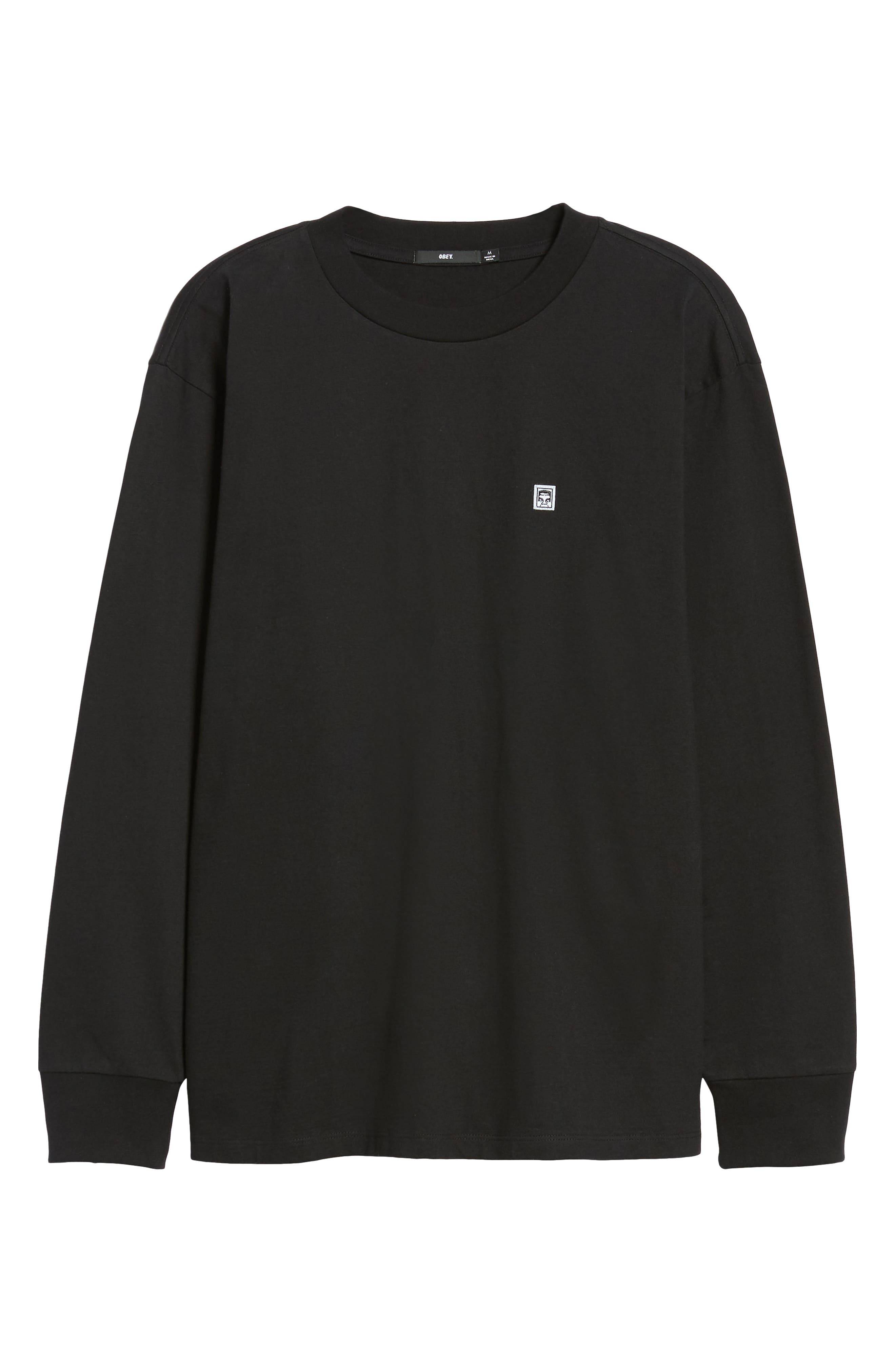 Eighty-Nine Solid Box Long Sleeve T-Shirt,                             Alternate thumbnail 6, color,                             BLACK MULTI