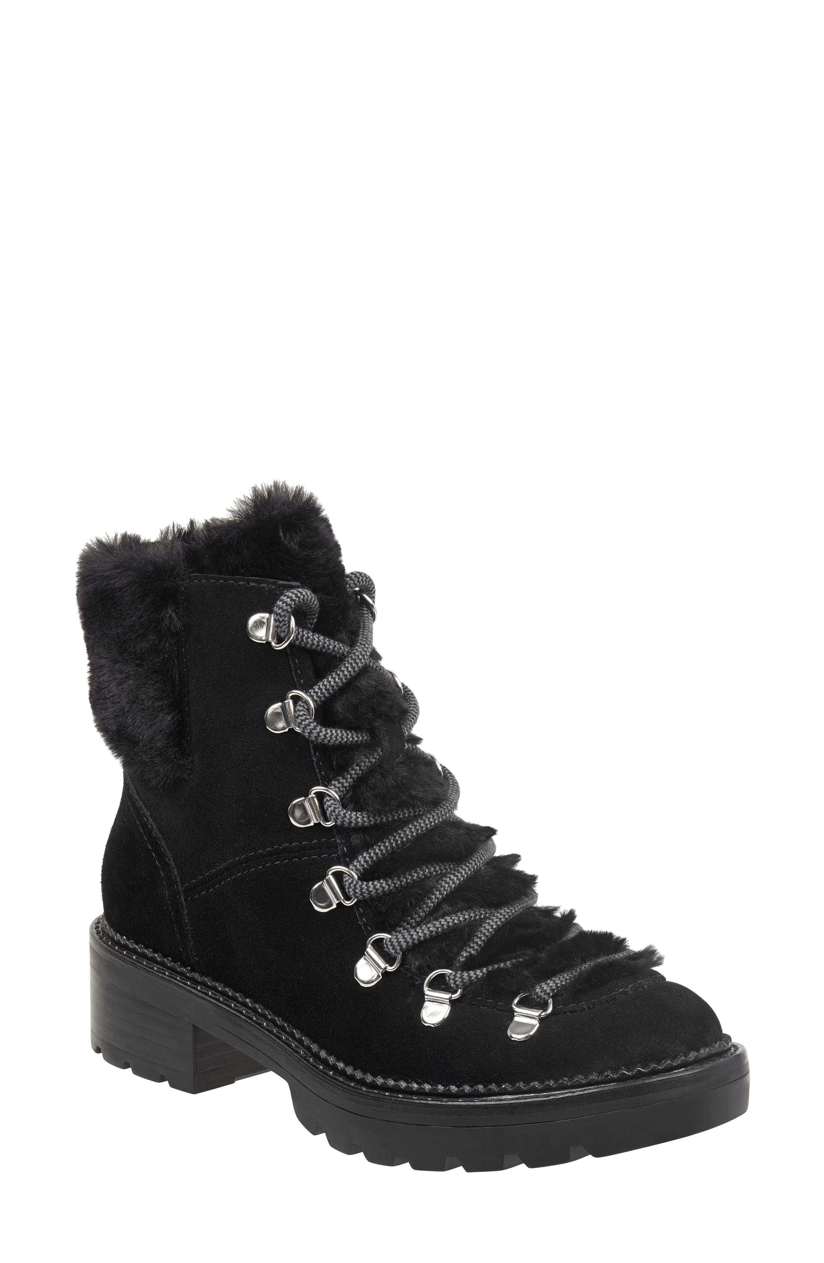 Capell Faux Shearling Cuff Lace-Up Boot,                             Main thumbnail 1, color,                             BLACK SUEDE