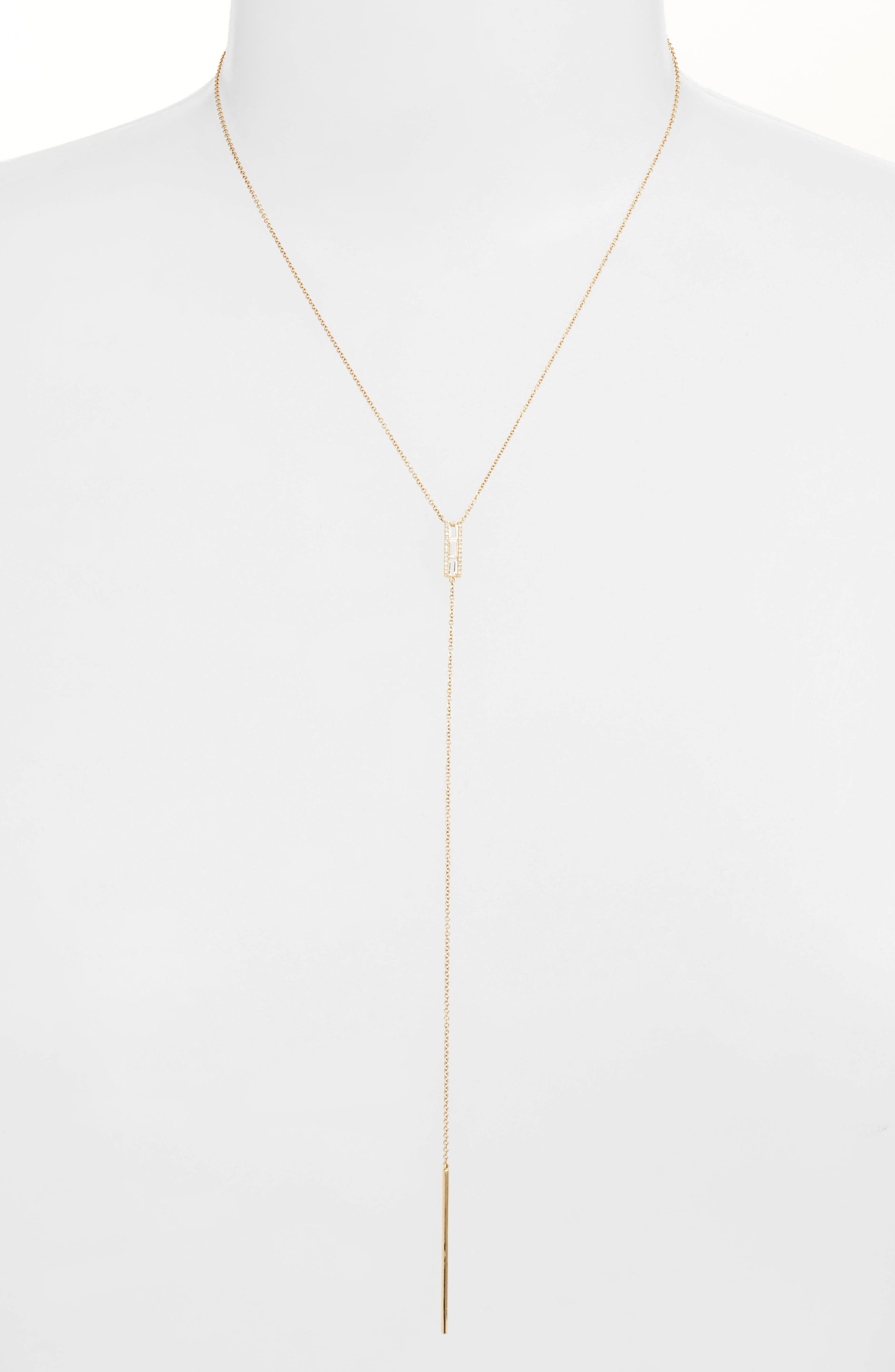 Diamond & Topaz Baguette Bar Y-Necklace,                         Main,                         color,