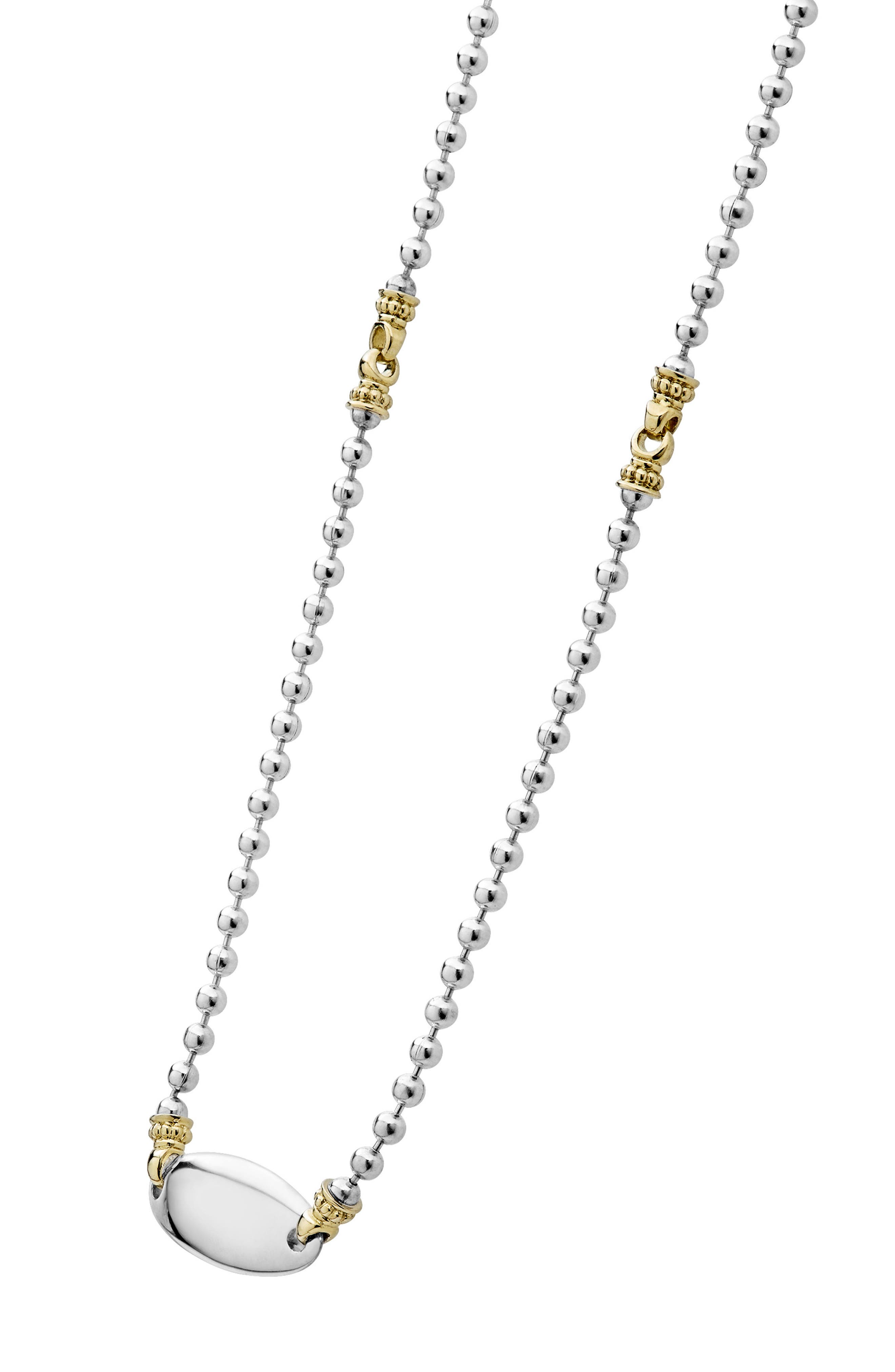 Beloved Oval Plate Chain Necklace,                             Alternate thumbnail 6, color,                             SILVER