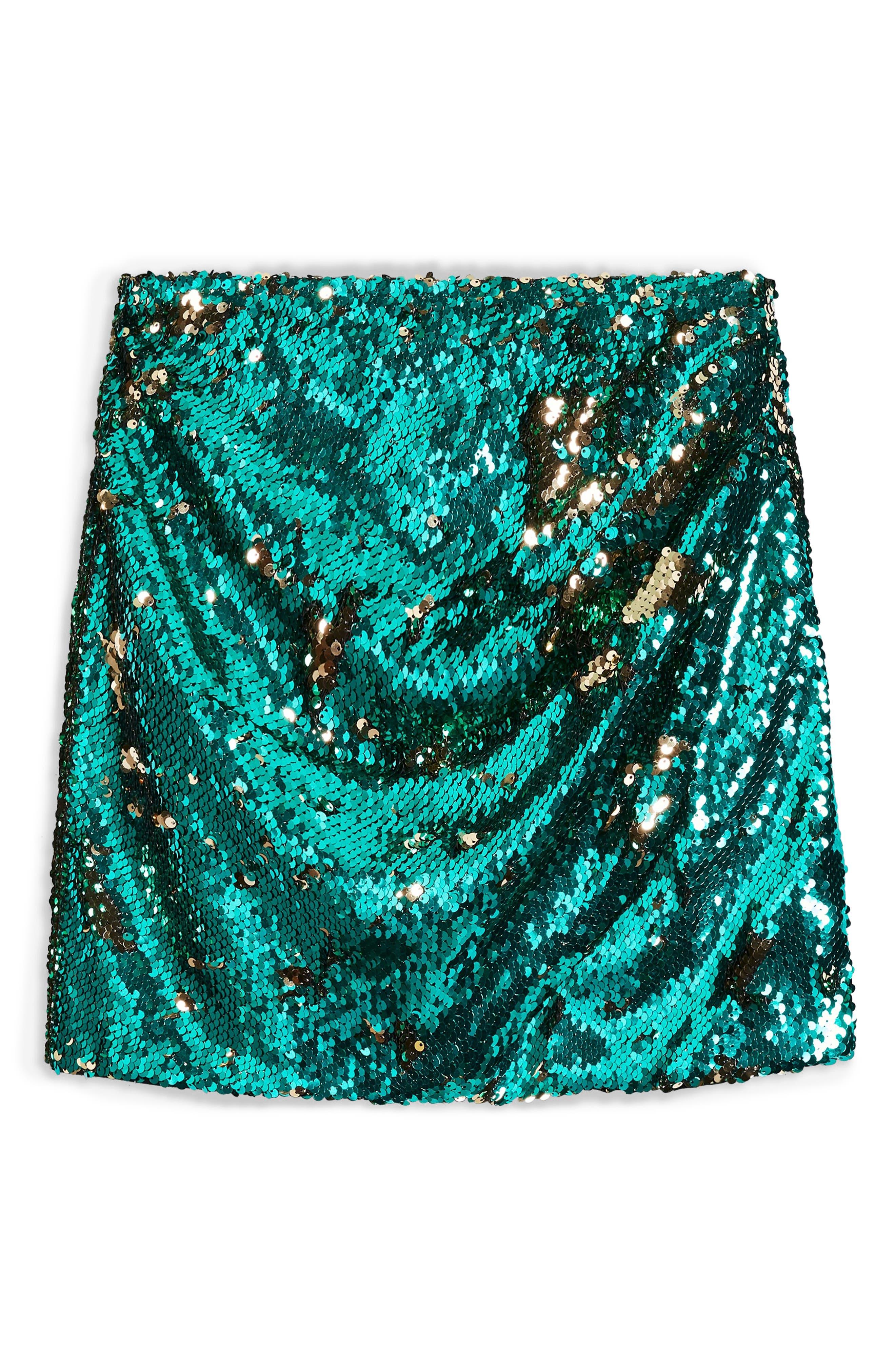 Sequin Drape Miniskirt,                             Alternate thumbnail 3, color,                             GREEN