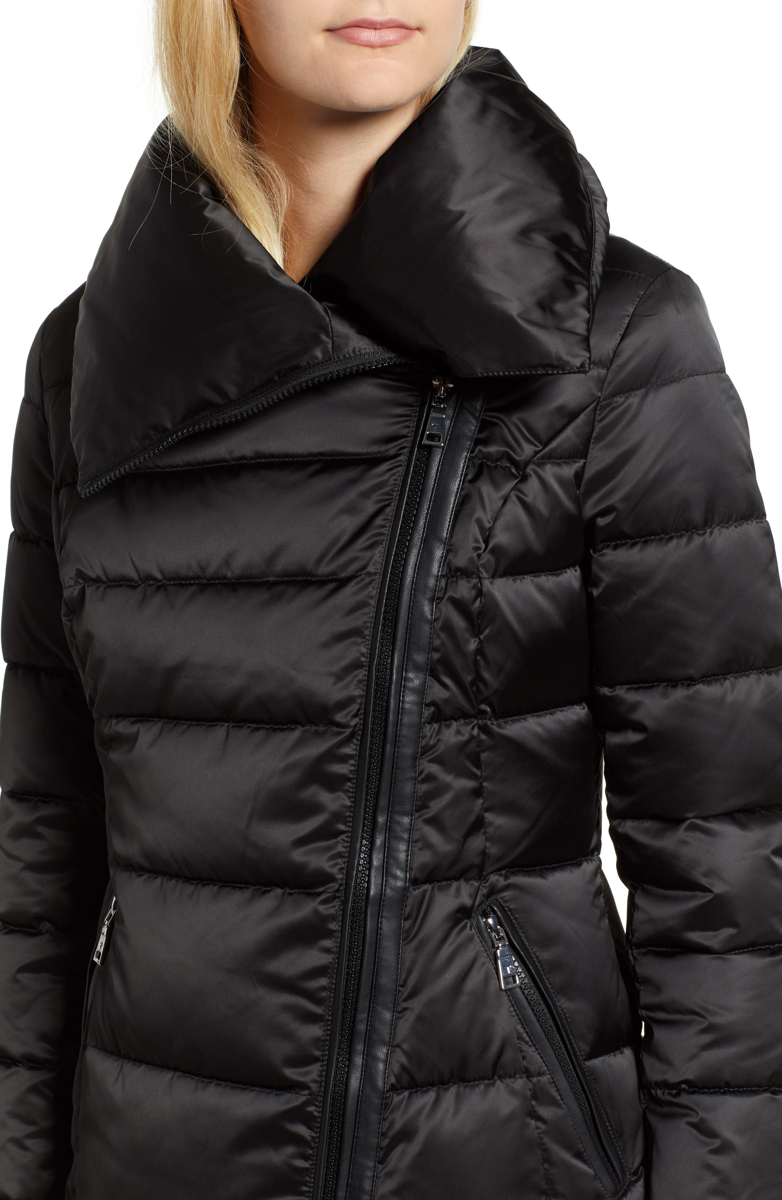 Blair Moto Style Puffer Jacket,                             Alternate thumbnail 4, color,                             BLACK