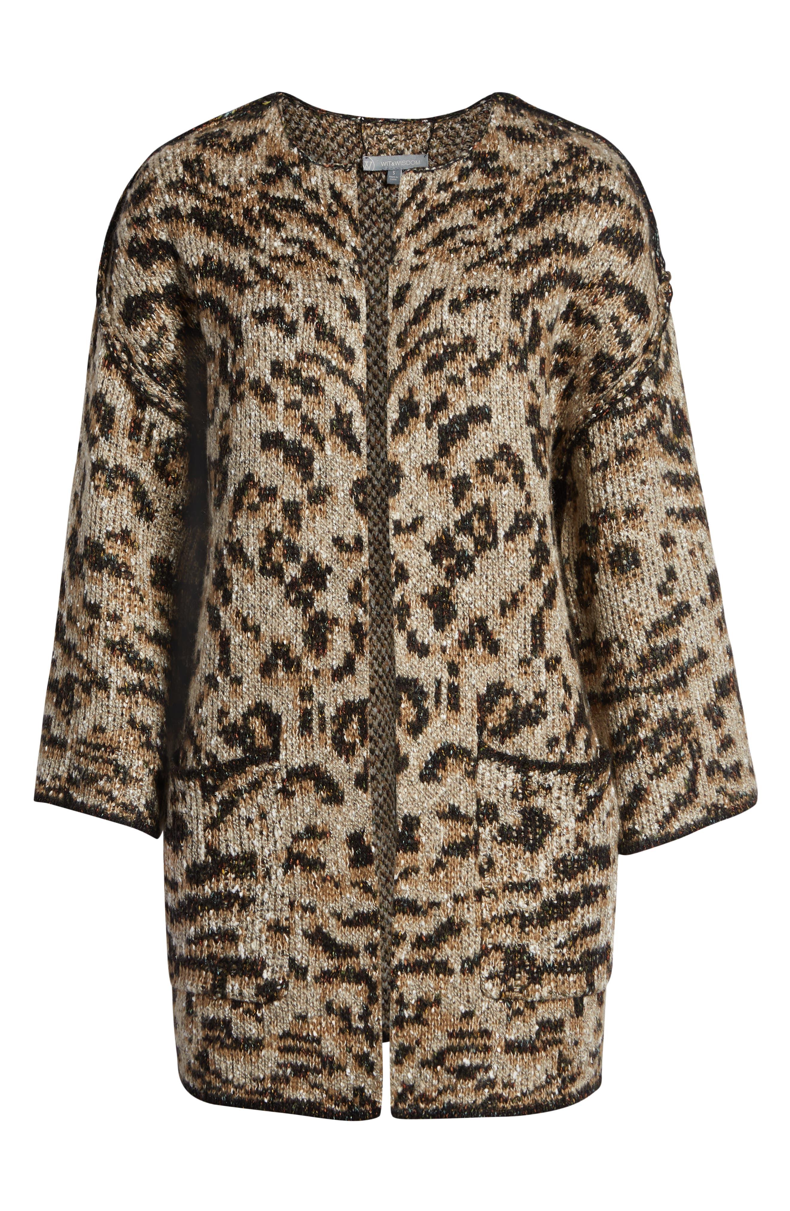 WIT & WISDOM,                             Reversible Tiger Jacquard Sweater Jacket,                             Alternate thumbnail 7, color,                             TAUPE