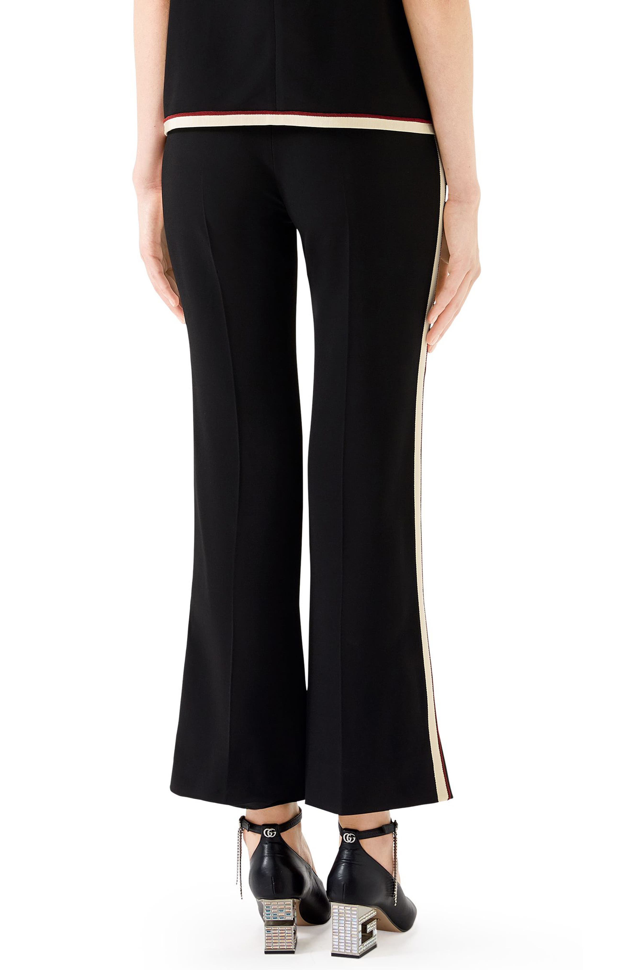 GUCCI,                             Side Stripe Stretch Cady Crop Flare Pants,                             Alternate thumbnail 2, color,                             BLACK