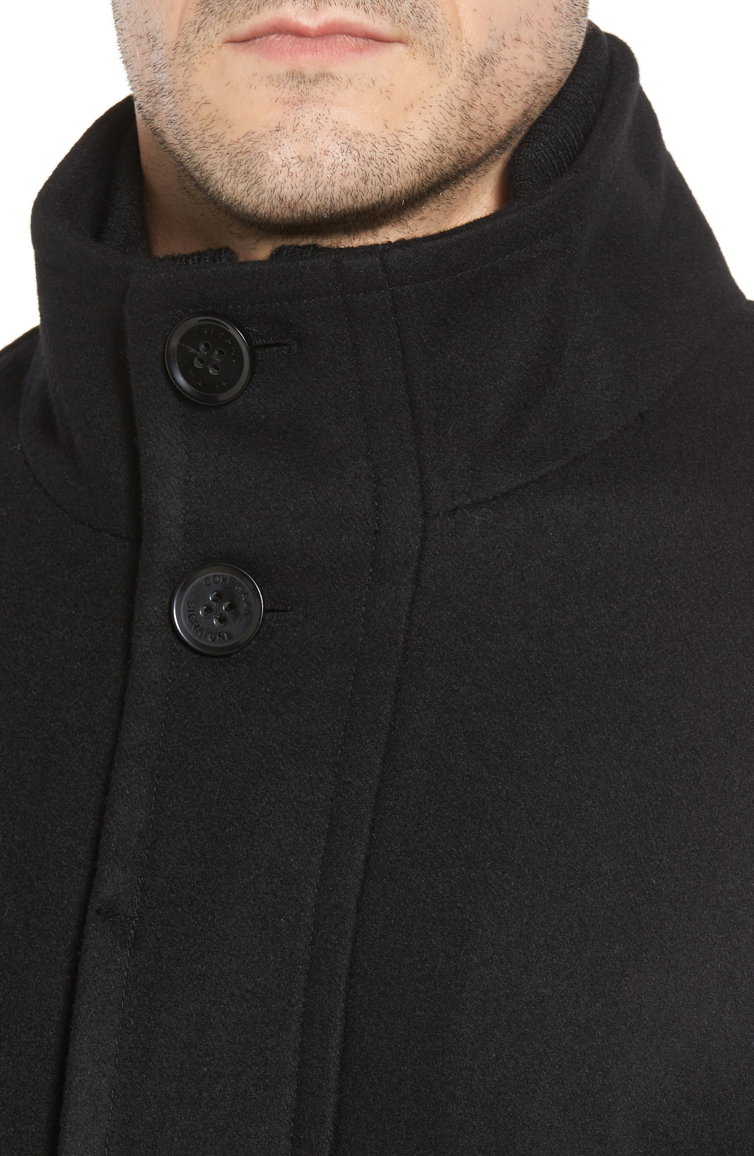 Melton Wool Blend Coat,                             Alternate thumbnail 4, color,                             BLACK