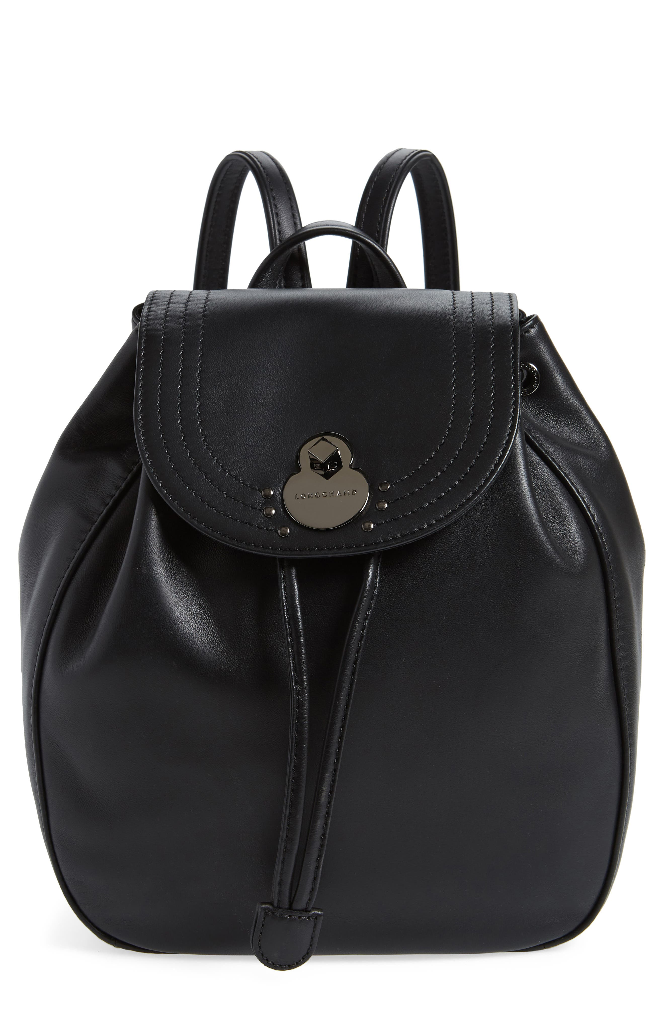 Cavalcade Leather Backpack,                             Main thumbnail 1, color,                             BLACK