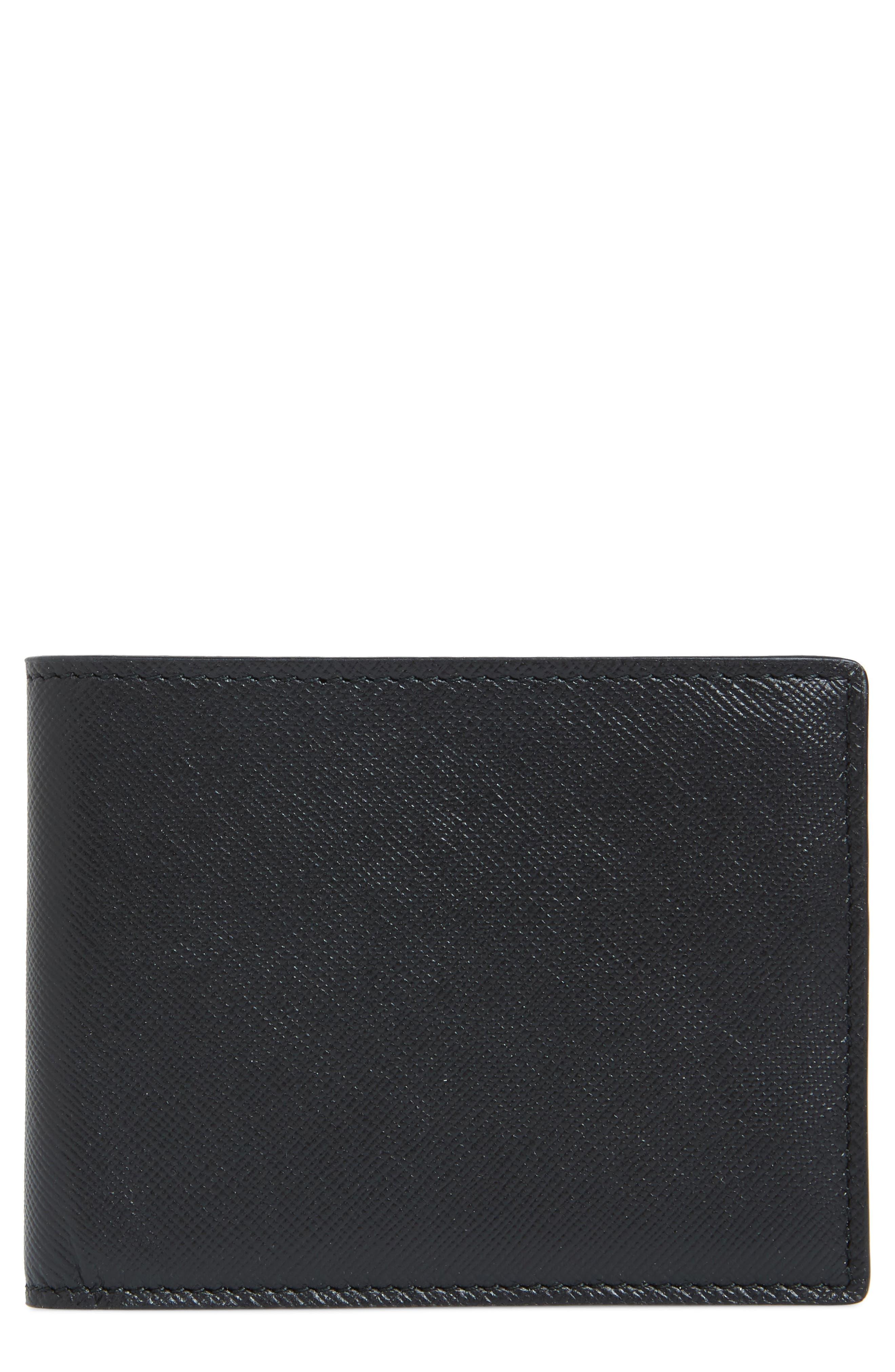 Saffiano Leather Wallet,                             Main thumbnail 1, color,                             BLACK
