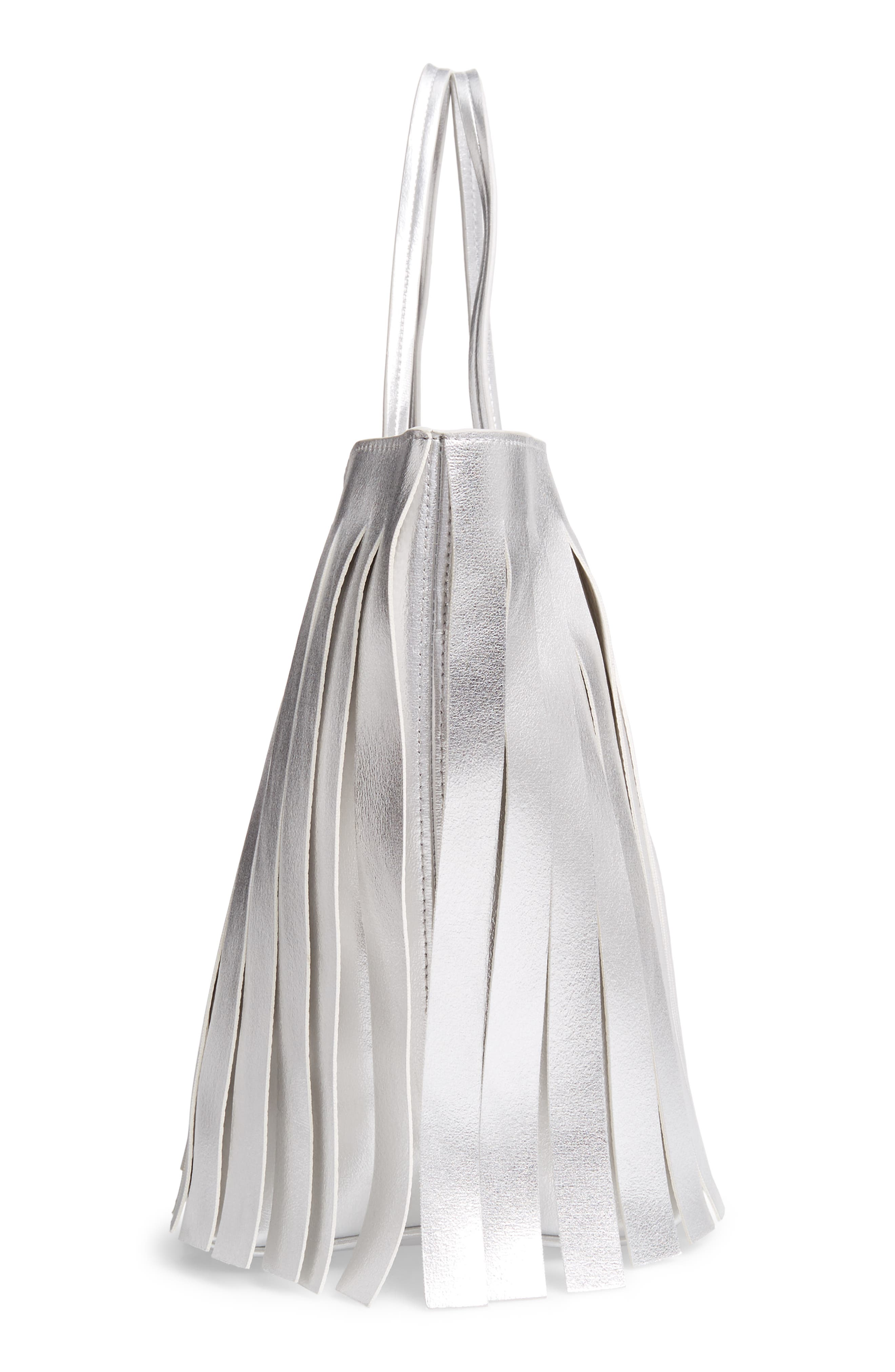 Corrie Fringe Faux Leather Tote,                             Alternate thumbnail 5, color,                             SILVER