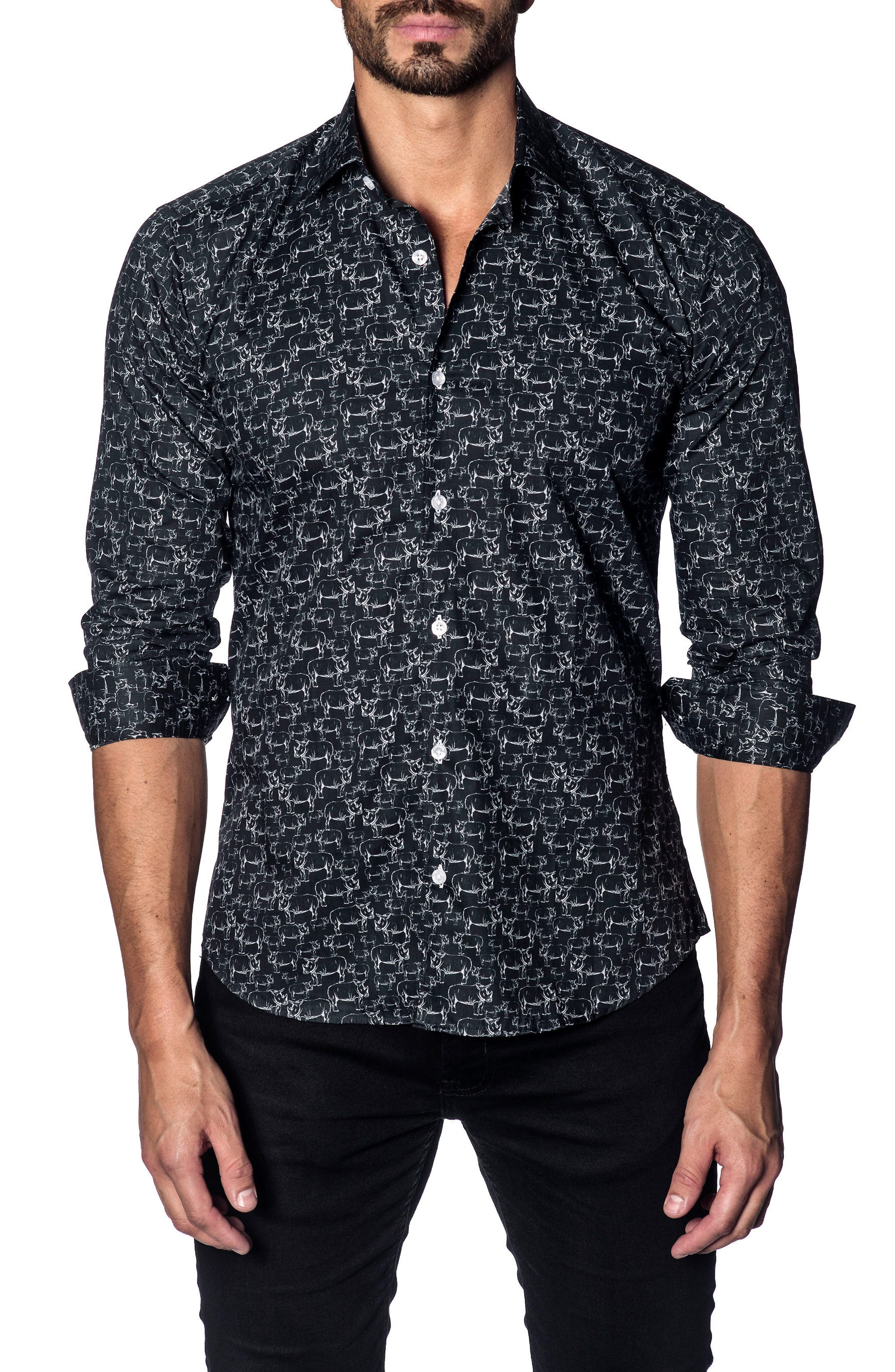 Trim Fit Sport Shirt,                         Main,                         color, BLACK WHITE RHINOS