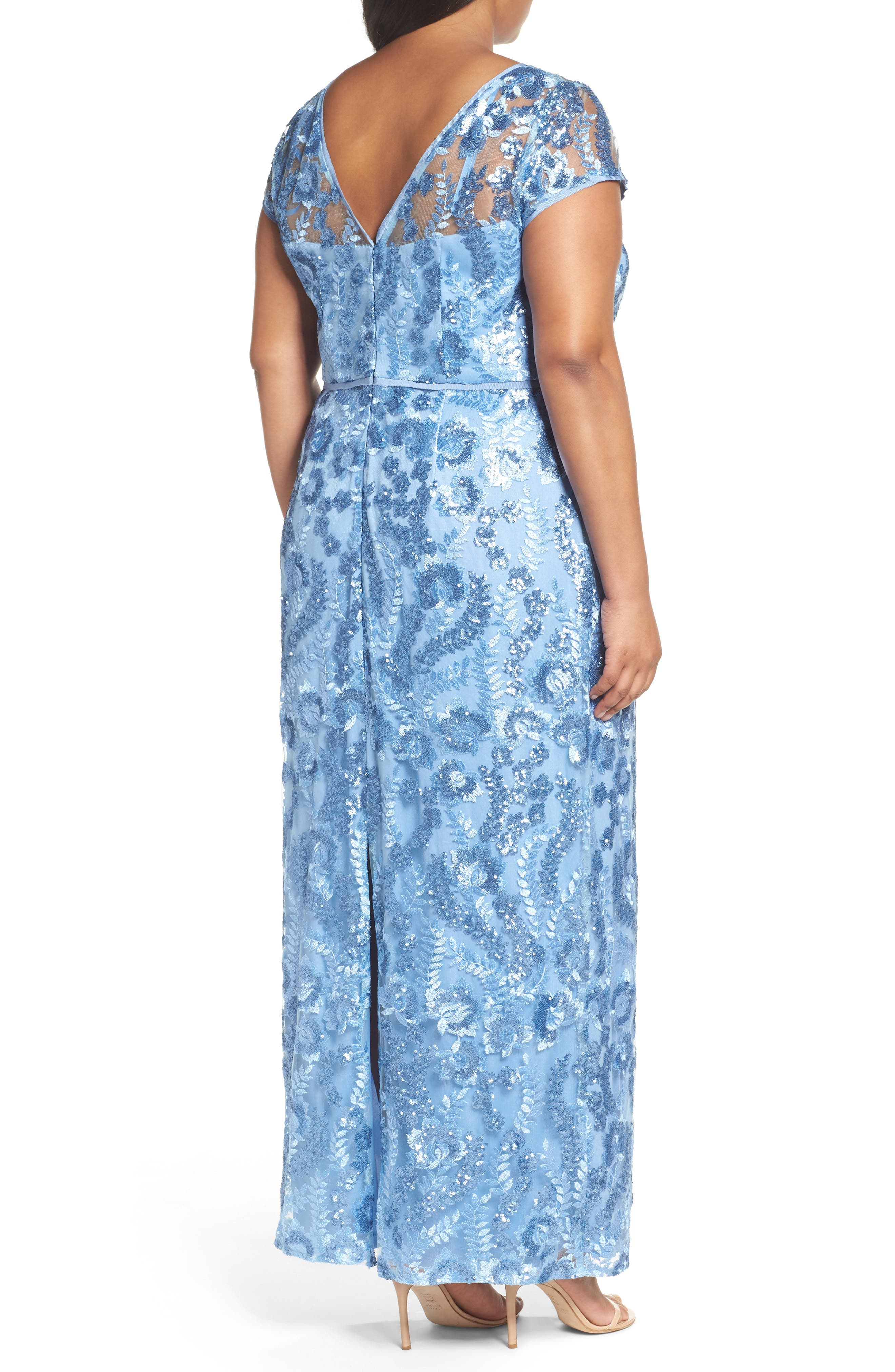 Sequin Embroidered Sheath Gown,                             Alternate thumbnail 2, color,                             SLATE BLUE