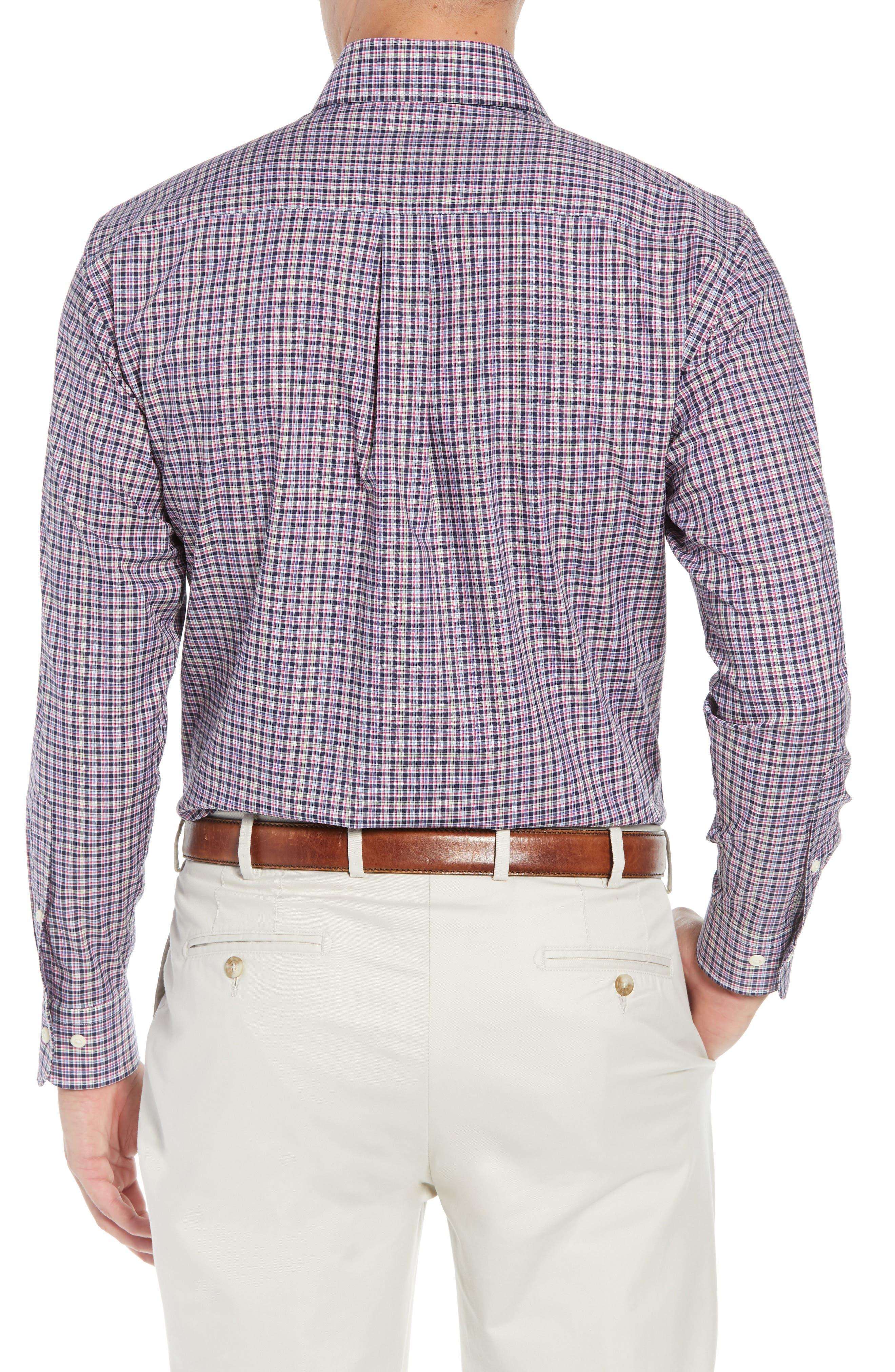 Crown Ease Triberg Regular Fit Check Sport Shirt,                             Alternate thumbnail 3, color,                             BLUE