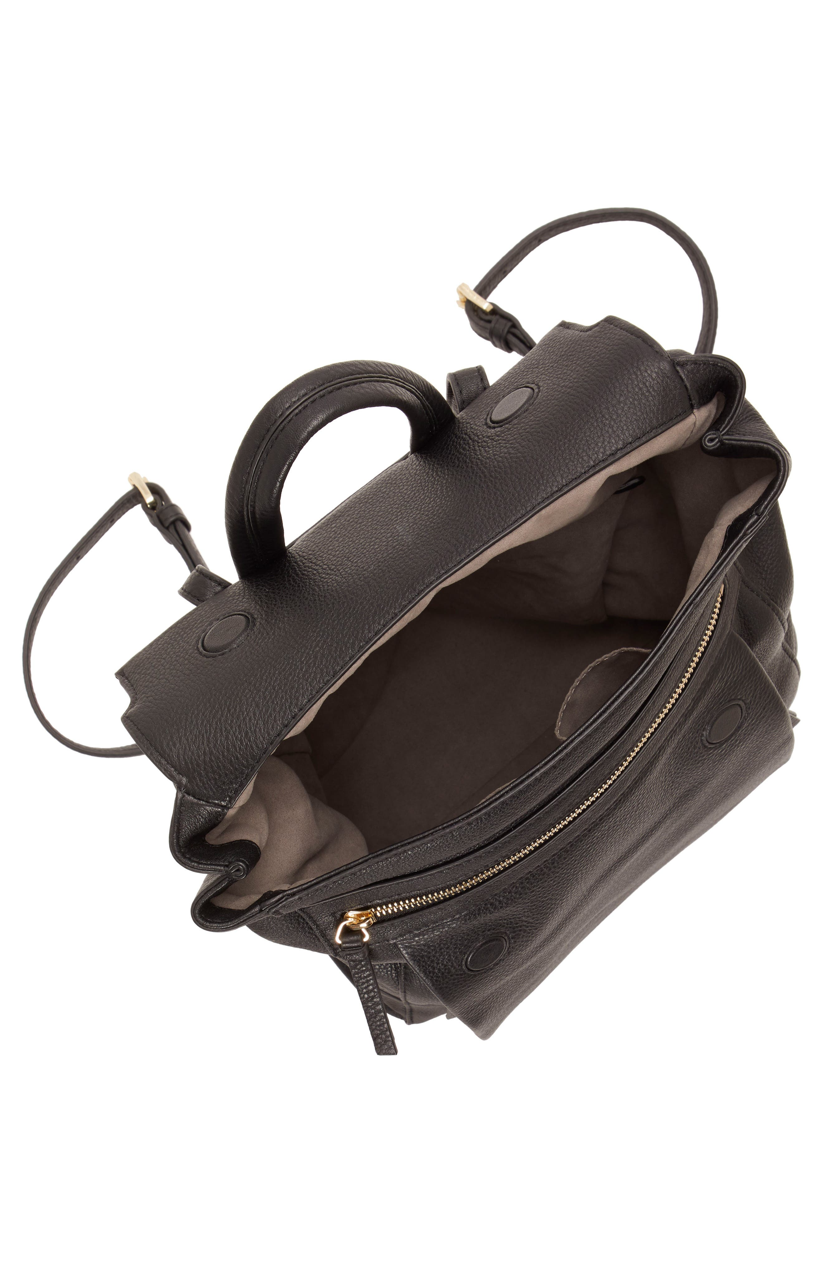 Min Pebbled Leather Backpack,                             Alternate thumbnail 3, color,                             BLACK