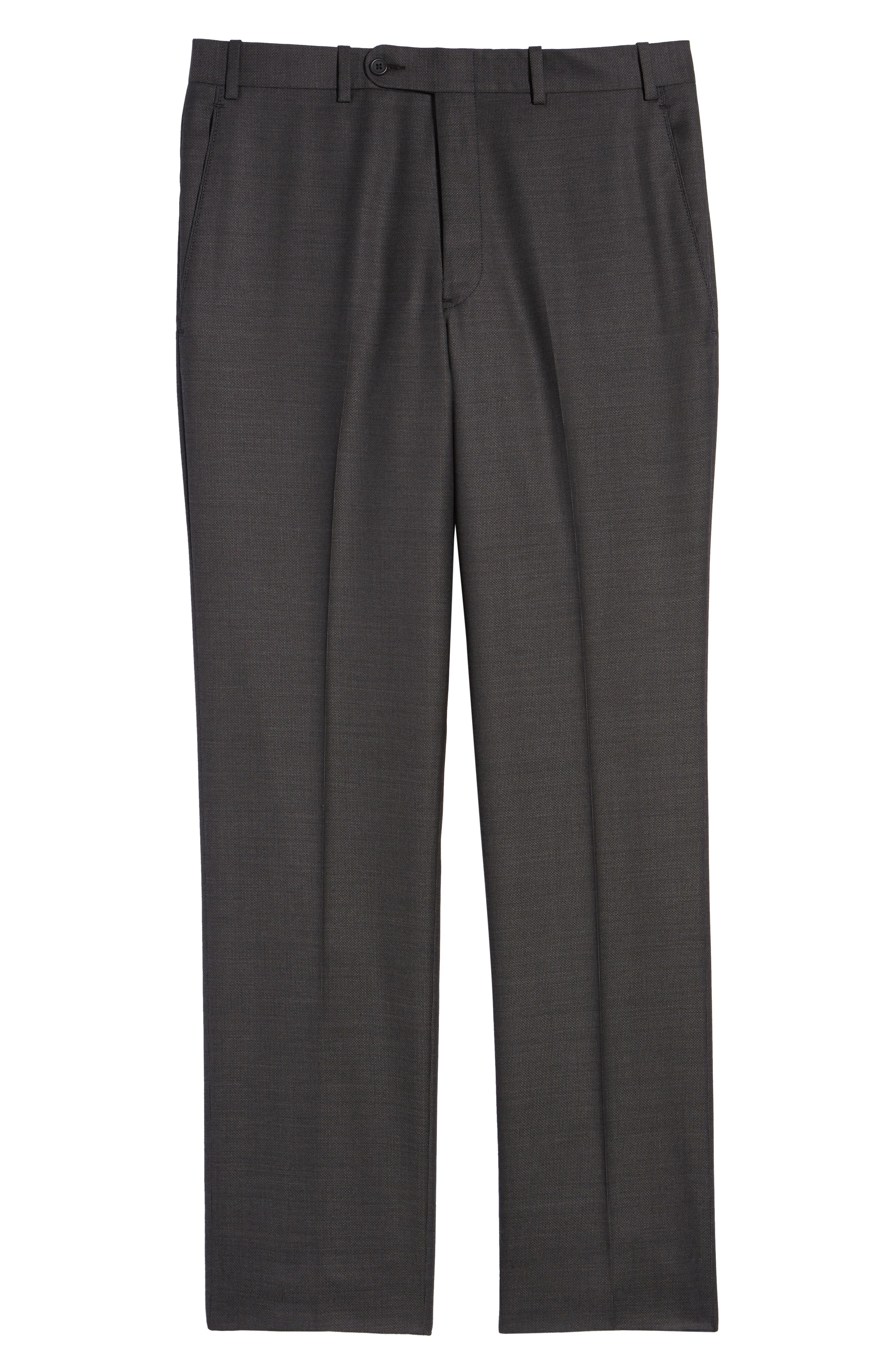Torino Traditional Fit Flat Front Solid Wool Trousers,                             Alternate thumbnail 6, color,                             BLACK