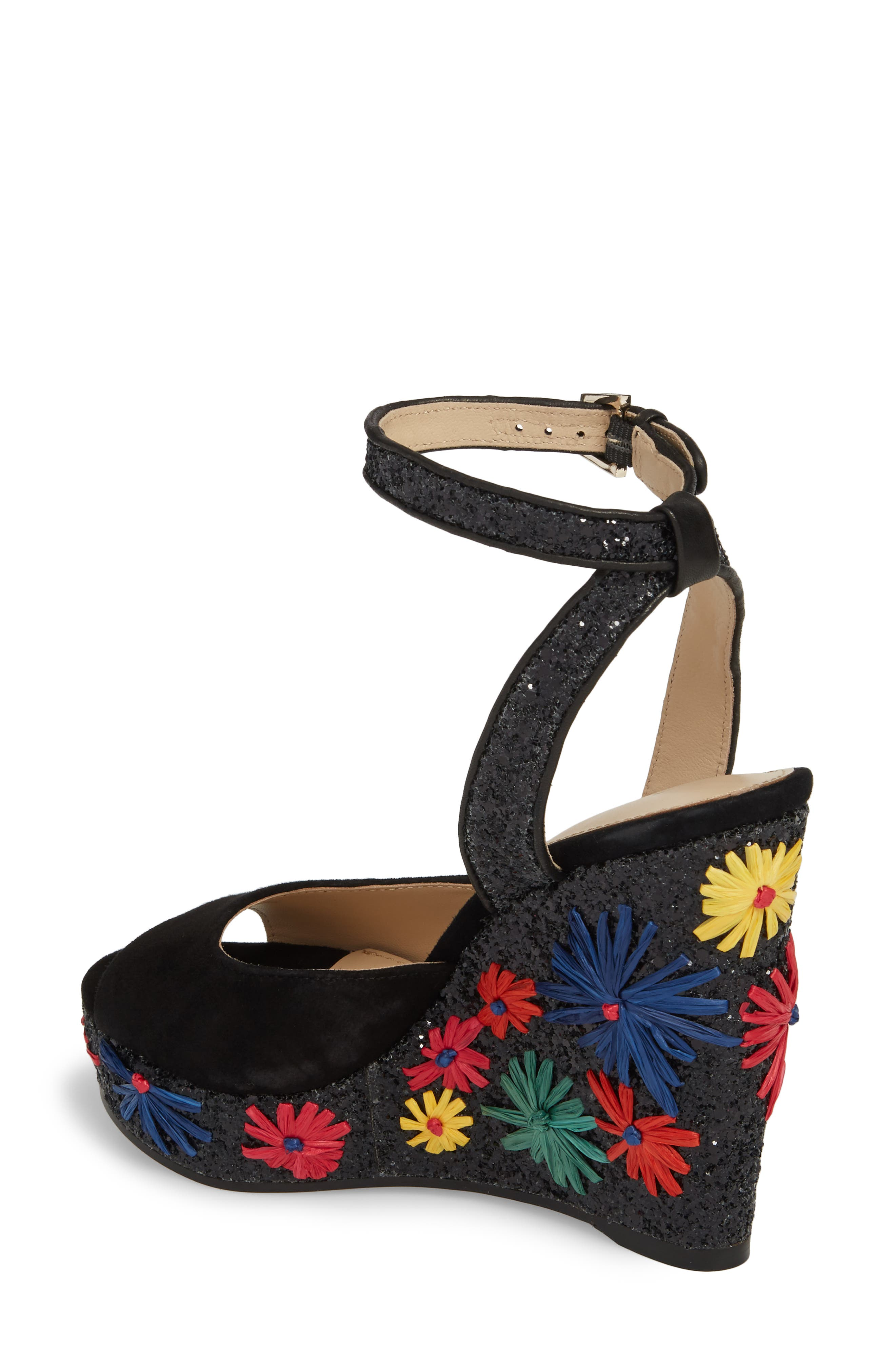 Jessie Wedge Sandal,                             Alternate thumbnail 2, color,                             BRIGHT FLORAL LEATHER