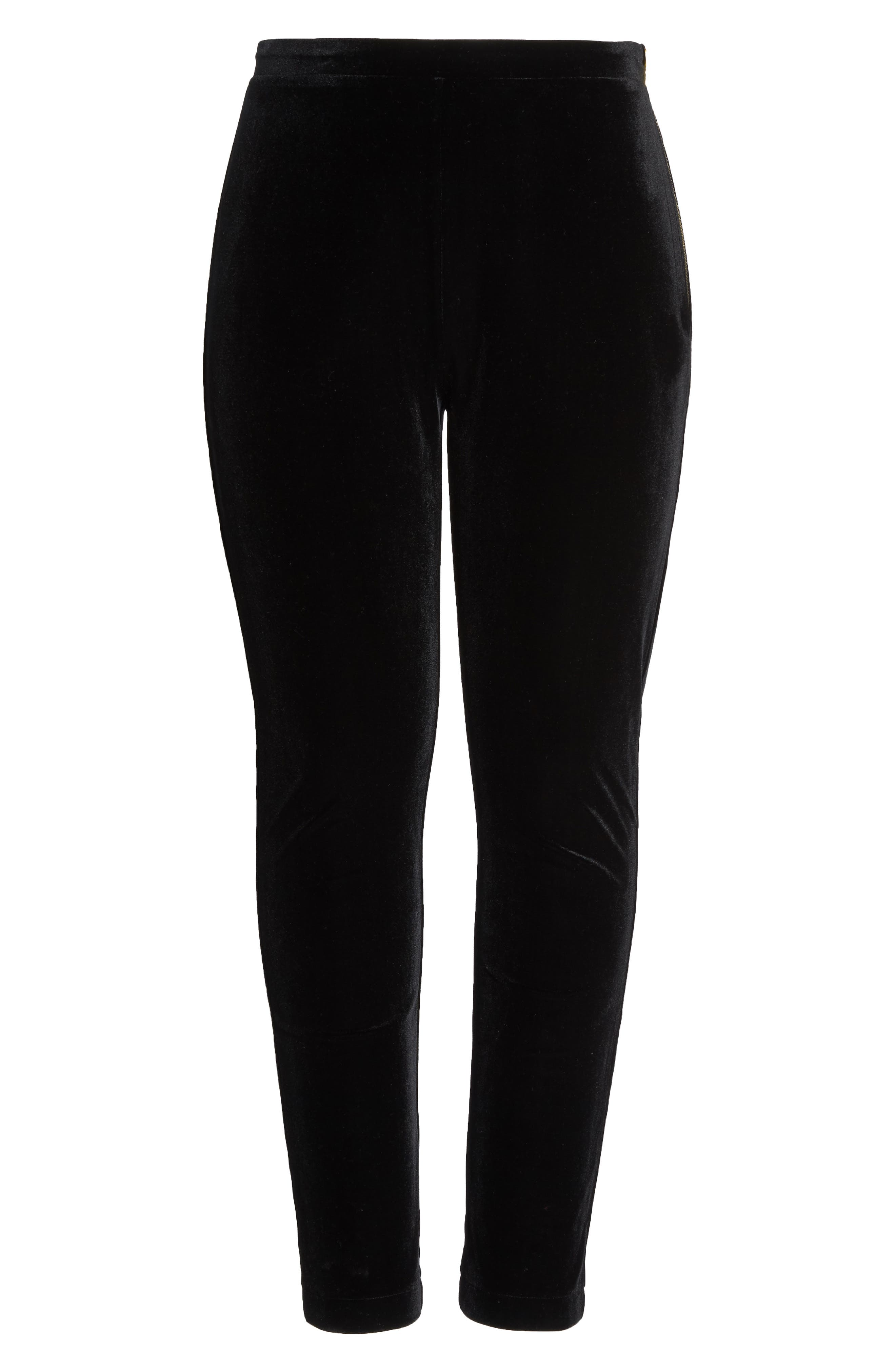 Black Velvet Trousers,                             Alternate thumbnail 6, color,                             001