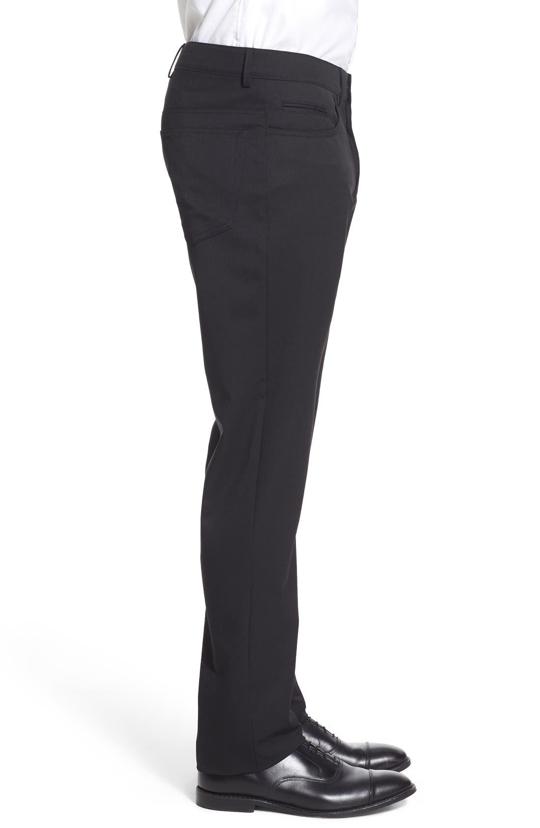 Flat Front Solid Wool Blend Trousers,                             Alternate thumbnail 3, color,                             001