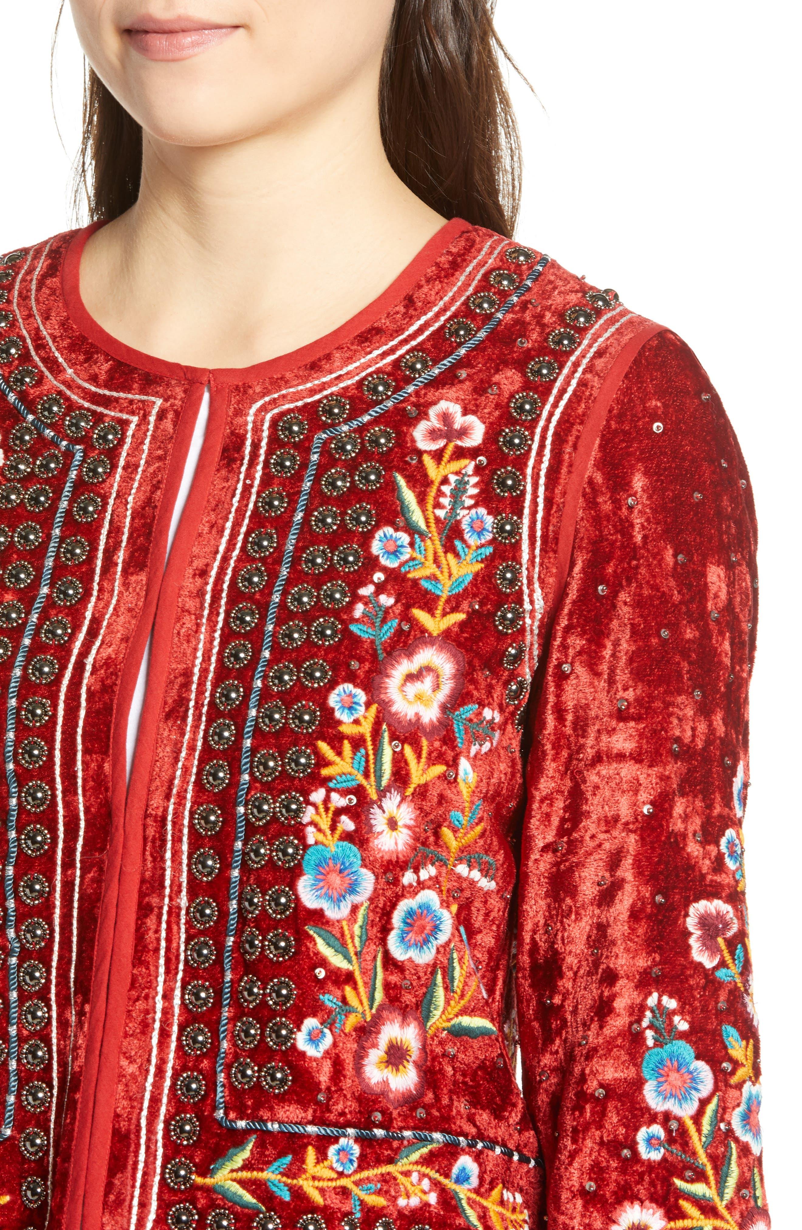 Embroidered Velvet Jacket,                             Alternate thumbnail 4, color,                             RED