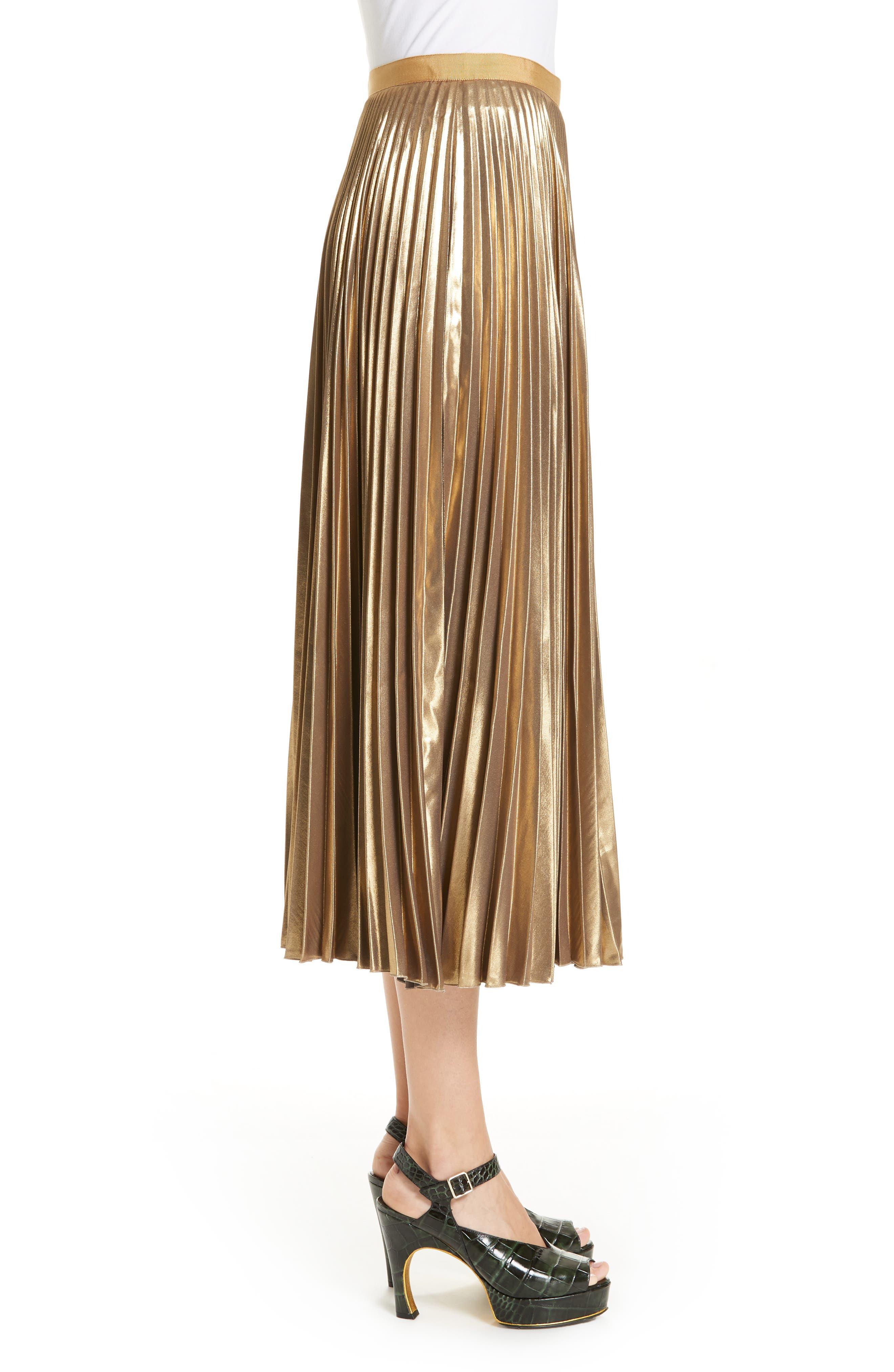 Pleated Metallic Skirt,                             Alternate thumbnail 3, color,                             710