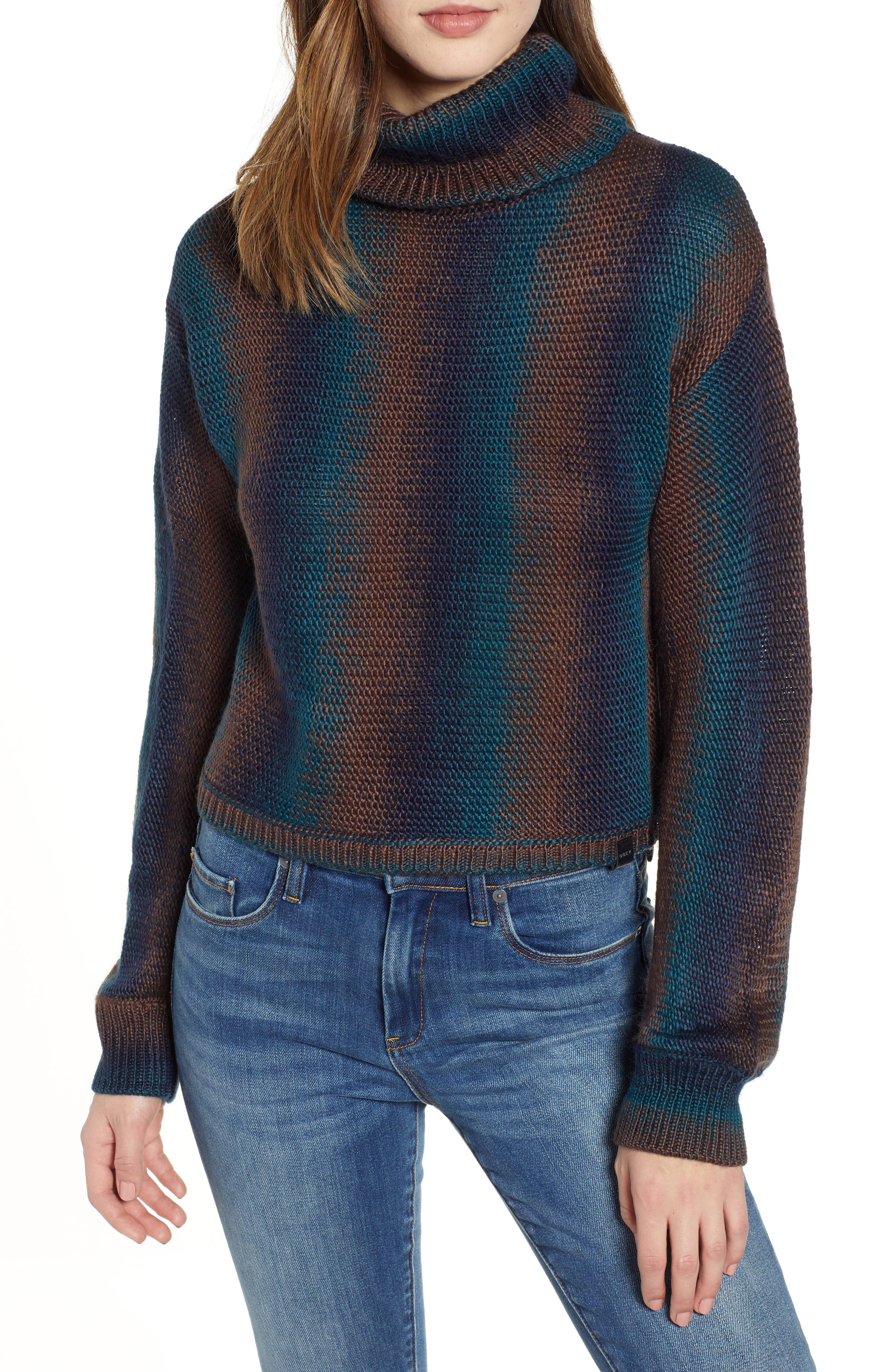 Helter Turtleneck Sweater,                             Main thumbnail 1, color,                             SPRUCE MULTI