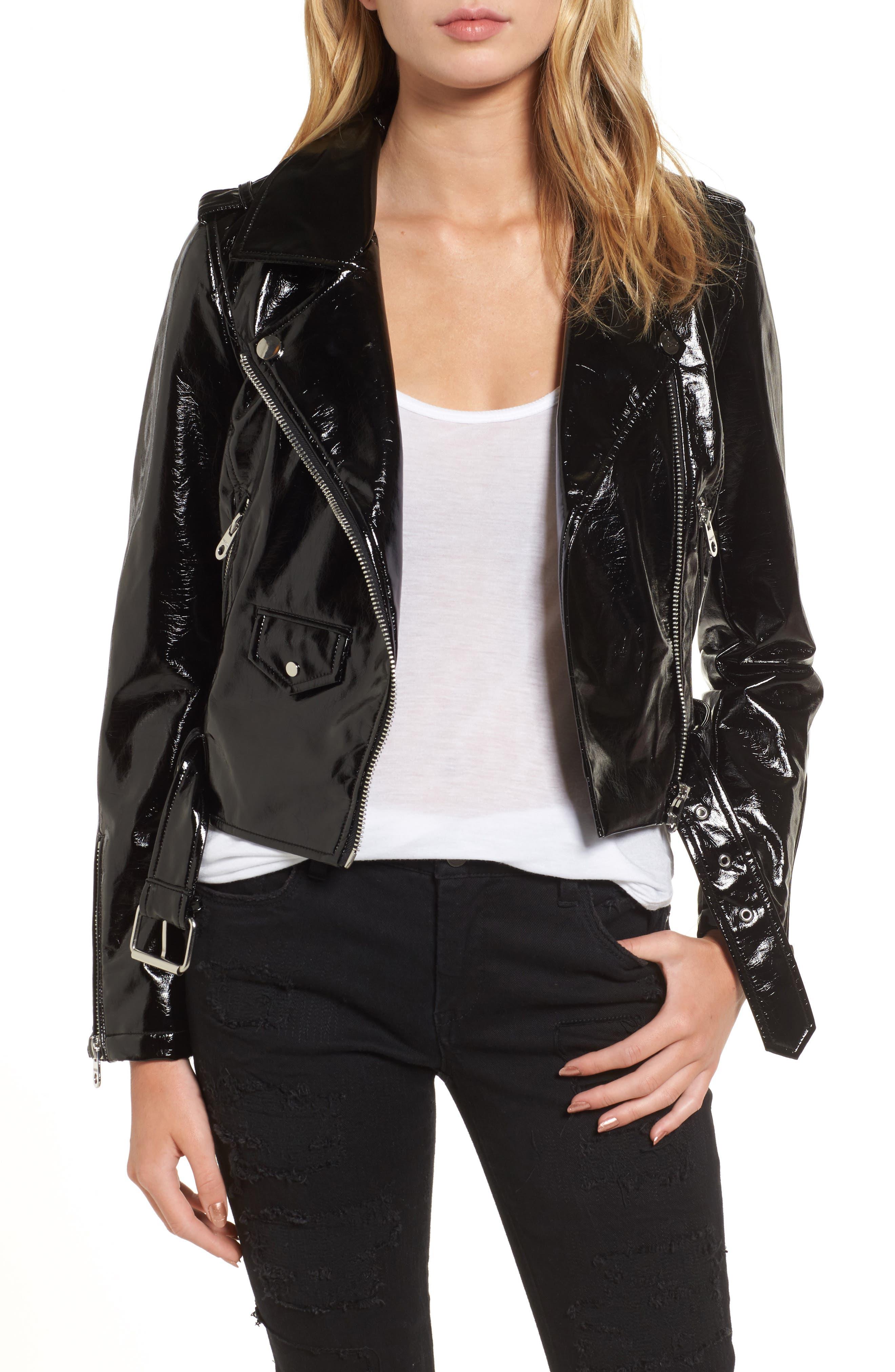 VIGOSS Faux Patent Leather Biker Jacket, Main, color, 001
