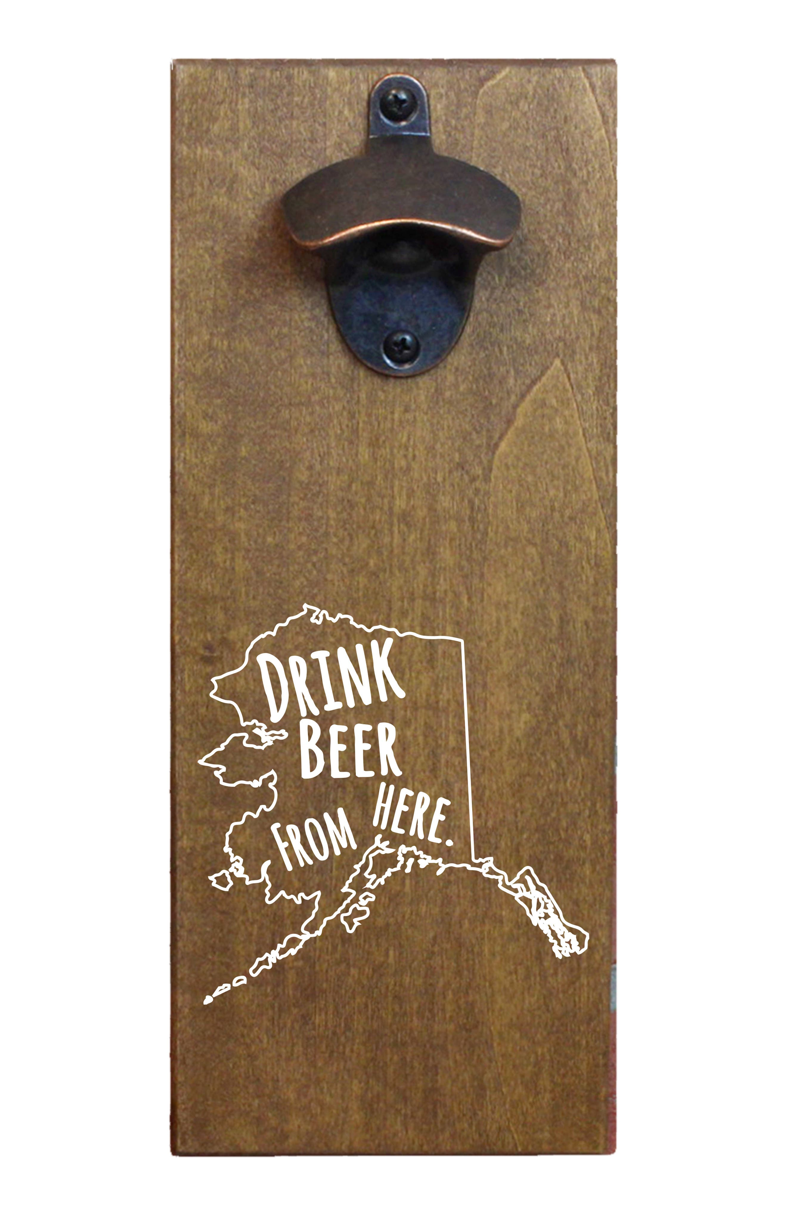 Drink Beer from Here State Wall Mount Bottle Opener, Main, color, ALASKA