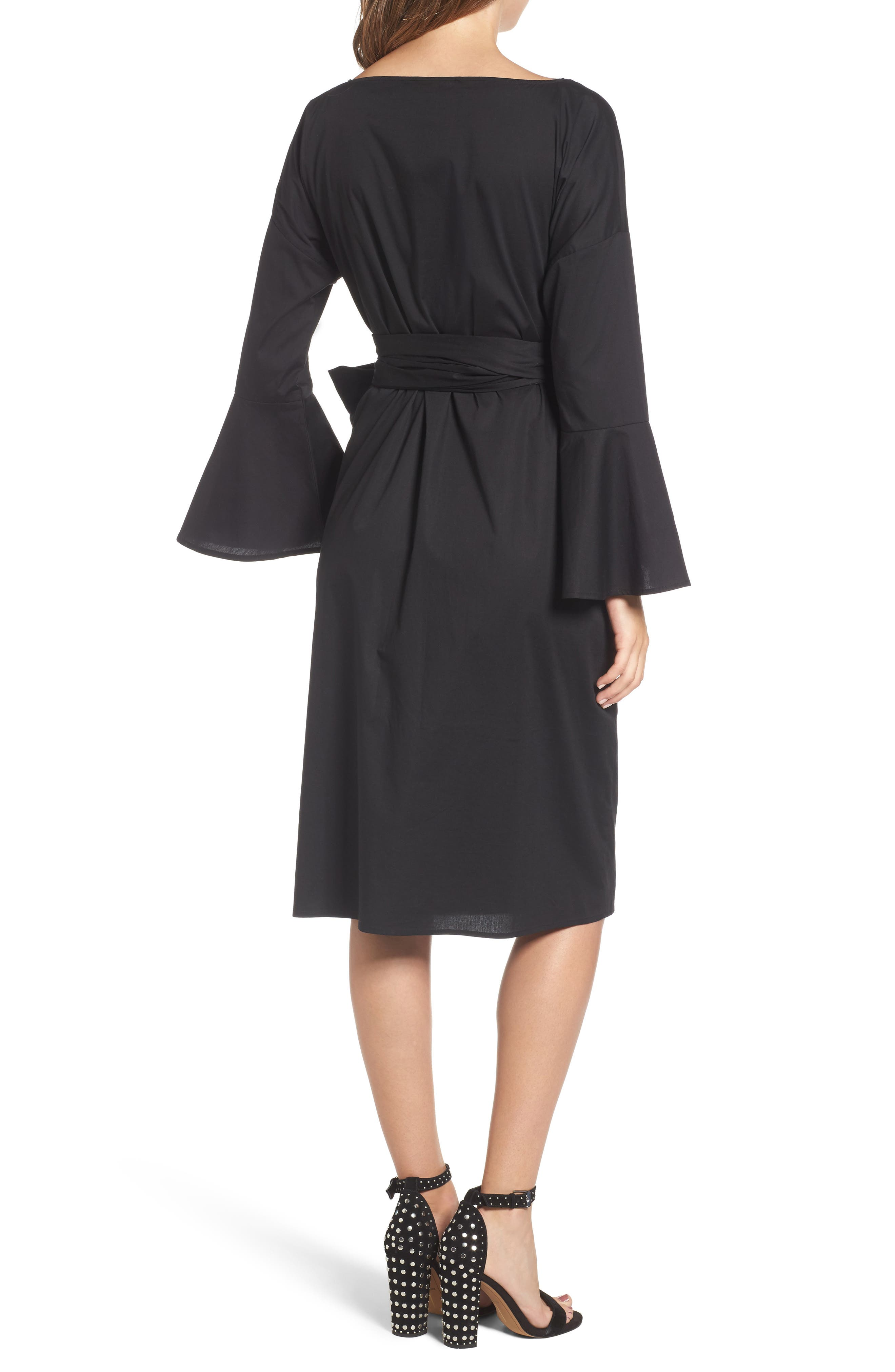 Wrap Bell Sleeve Dress,                             Alternate thumbnail 2, color,                             001
