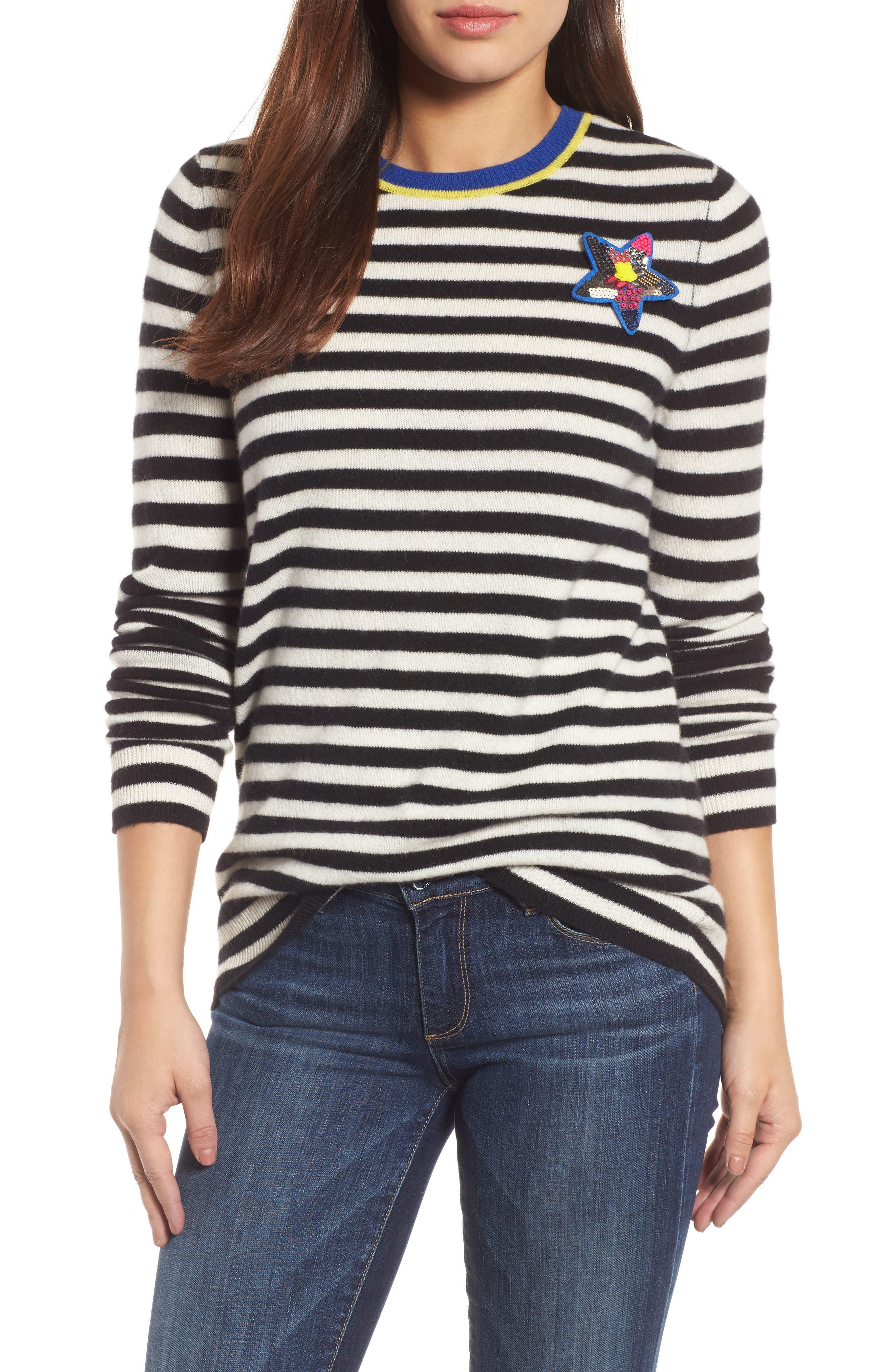 Stripe Cashmere Sweater,                             Main thumbnail 1, color,                             001