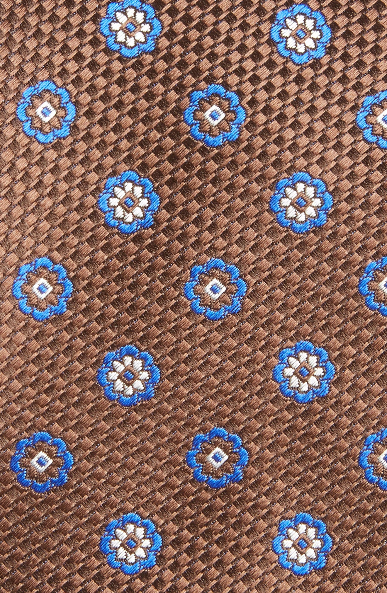 Medallion Silk Tie,                             Alternate thumbnail 2, color,                             BROWN