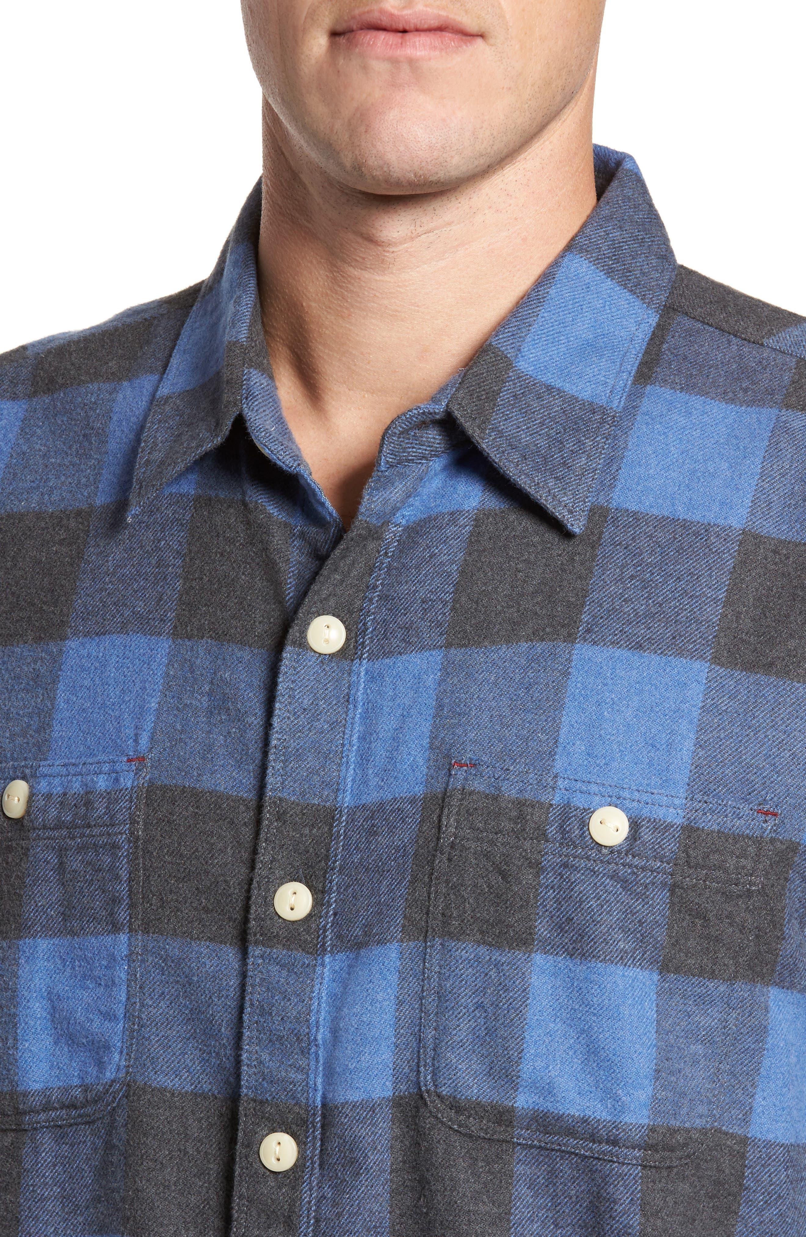 Road Trip Check Flannel Shirt,                             Alternate thumbnail 4, color,