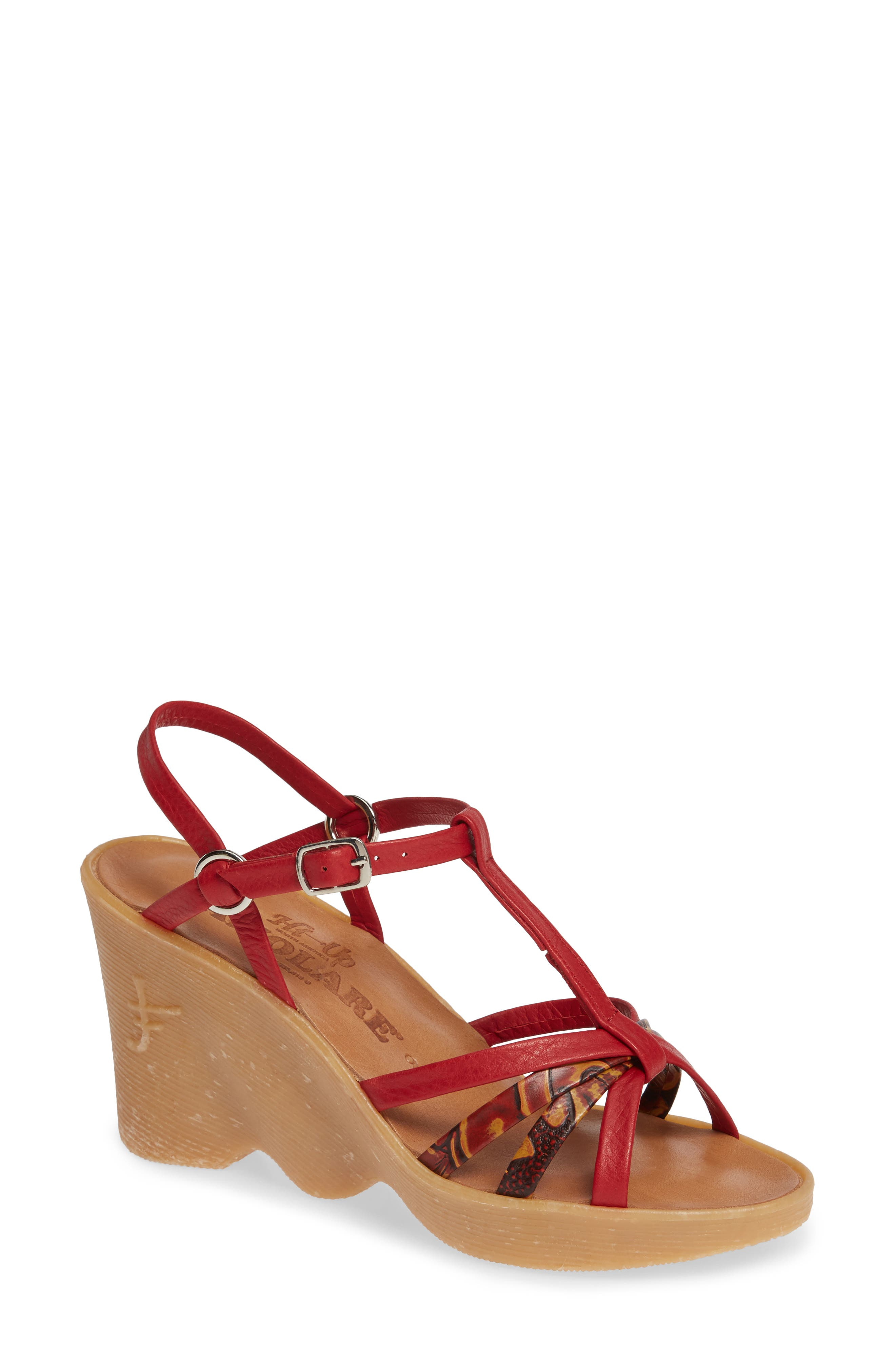 FAMOLARE,                             To a Tee Wedge Sandal,                             Main thumbnail 1, color,                             CORAL LEATHER