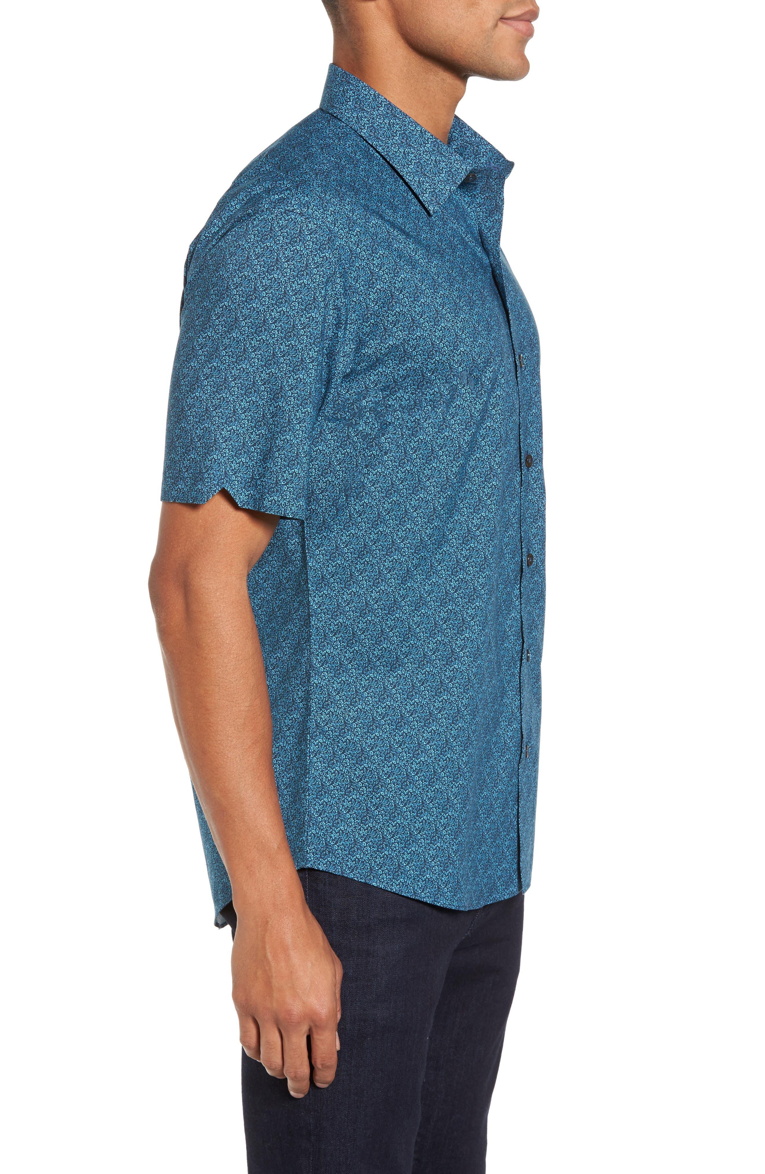 Machnee Slim Fit Print Sport Shirt,                             Alternate thumbnail 3, color,                             401