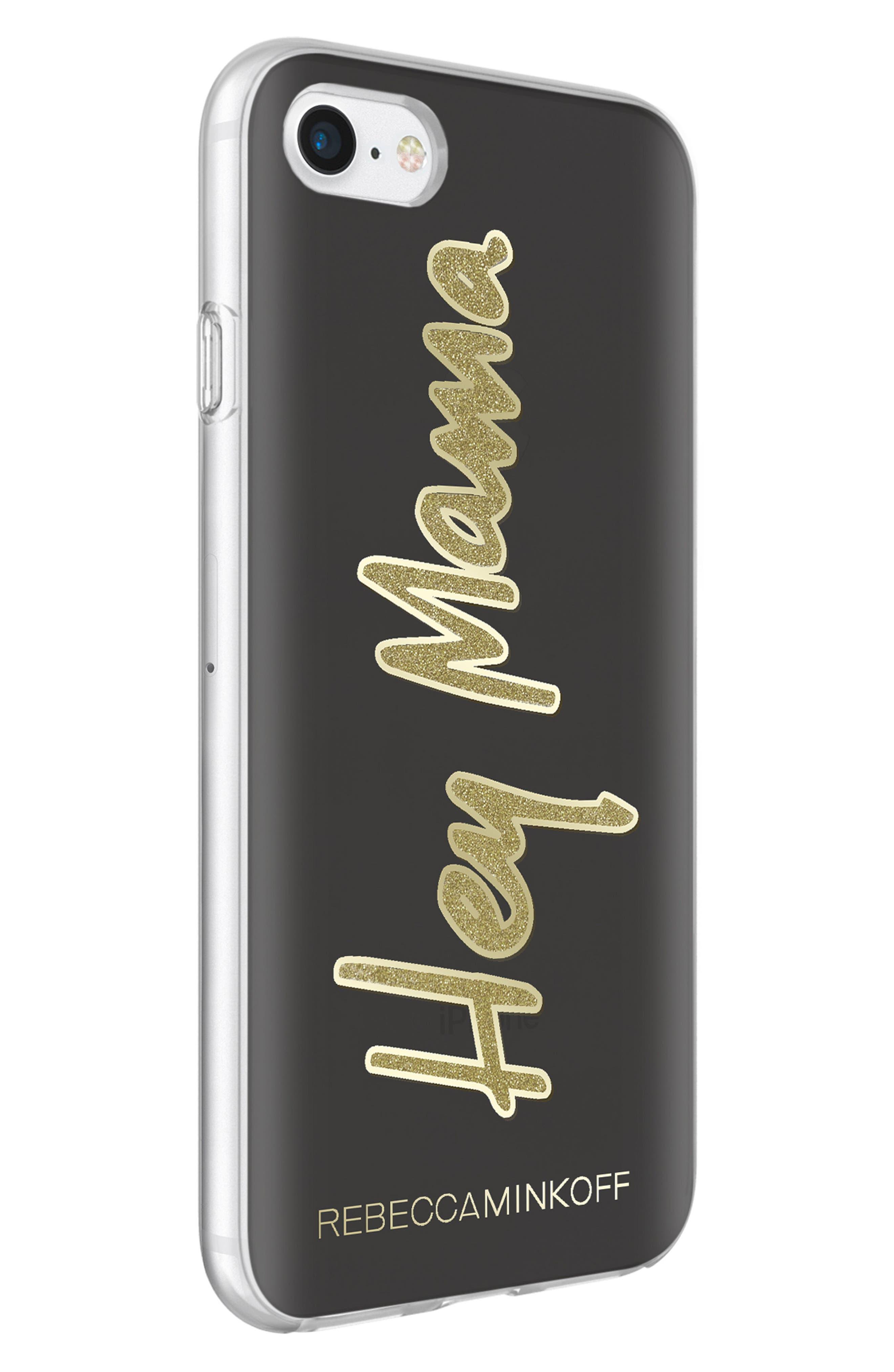 Hey Mama iPhone 7/8 & 7/8 Plus Case,                             Alternate thumbnail 5, color,                             BLACK/ GOLD GLITTER