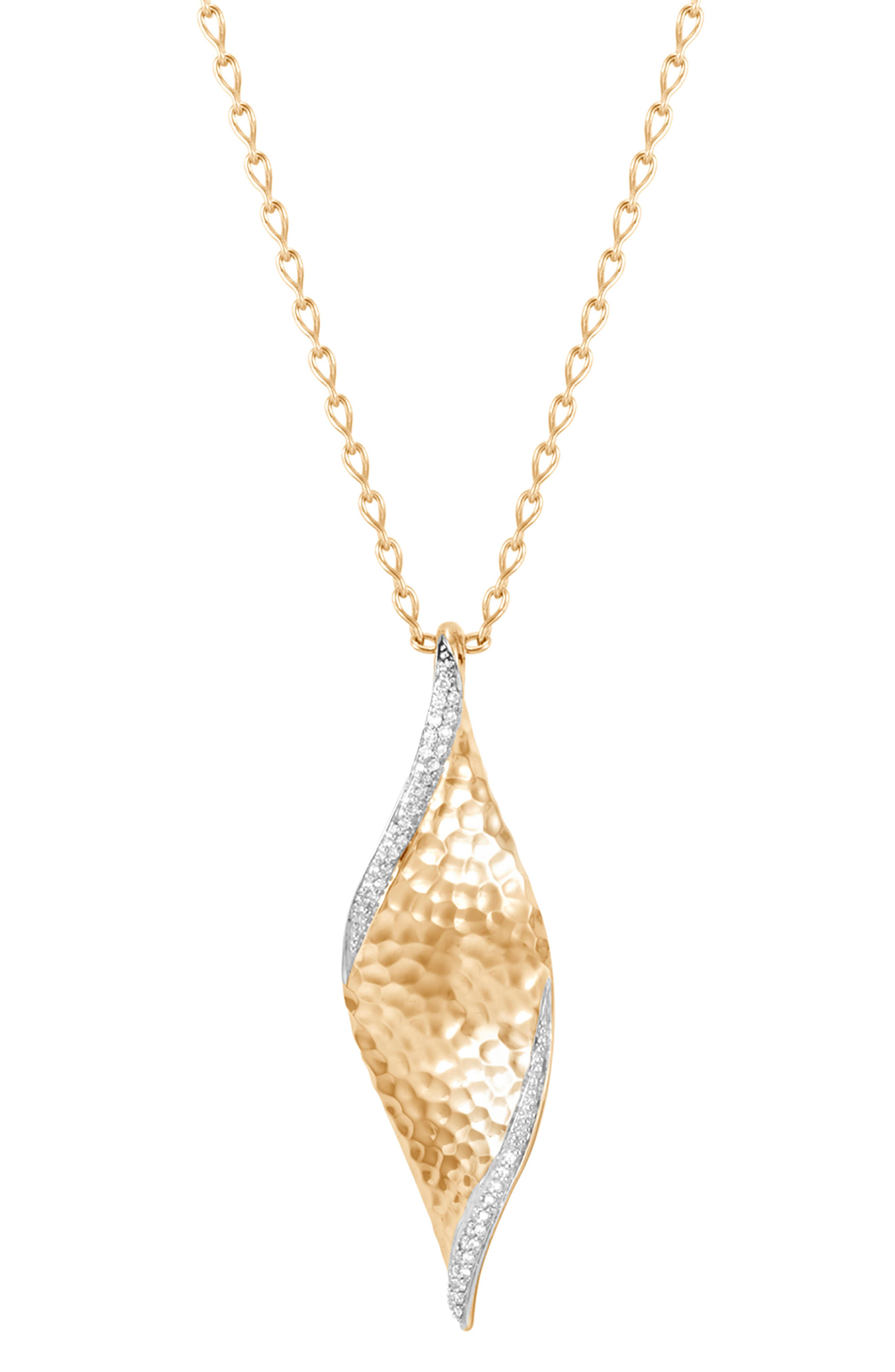Diamond Hammered Wave Pendant Necklace,                         Main,                         color, 710
