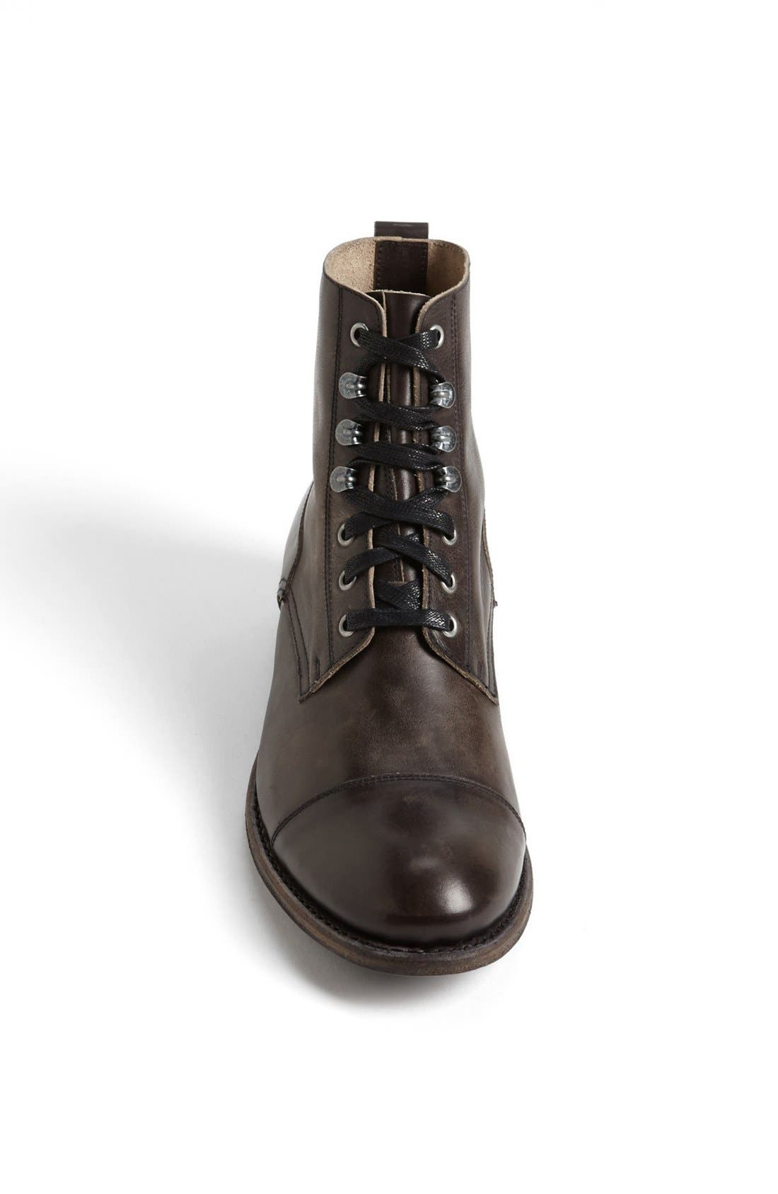 'Station' Cap Toe Boot,                             Alternate thumbnail 4, color,                             ANTRACITE LEATHER