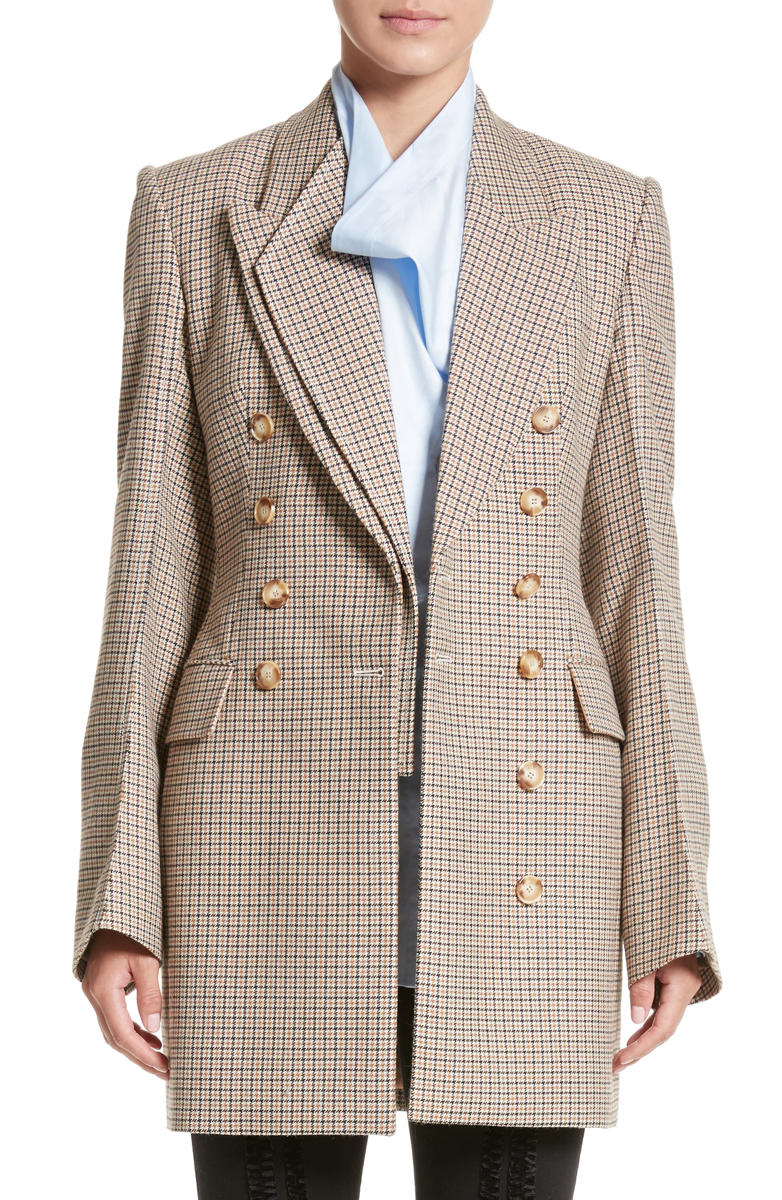 Check Wool Double Breasted Jacket,                             Main thumbnail 1, color,