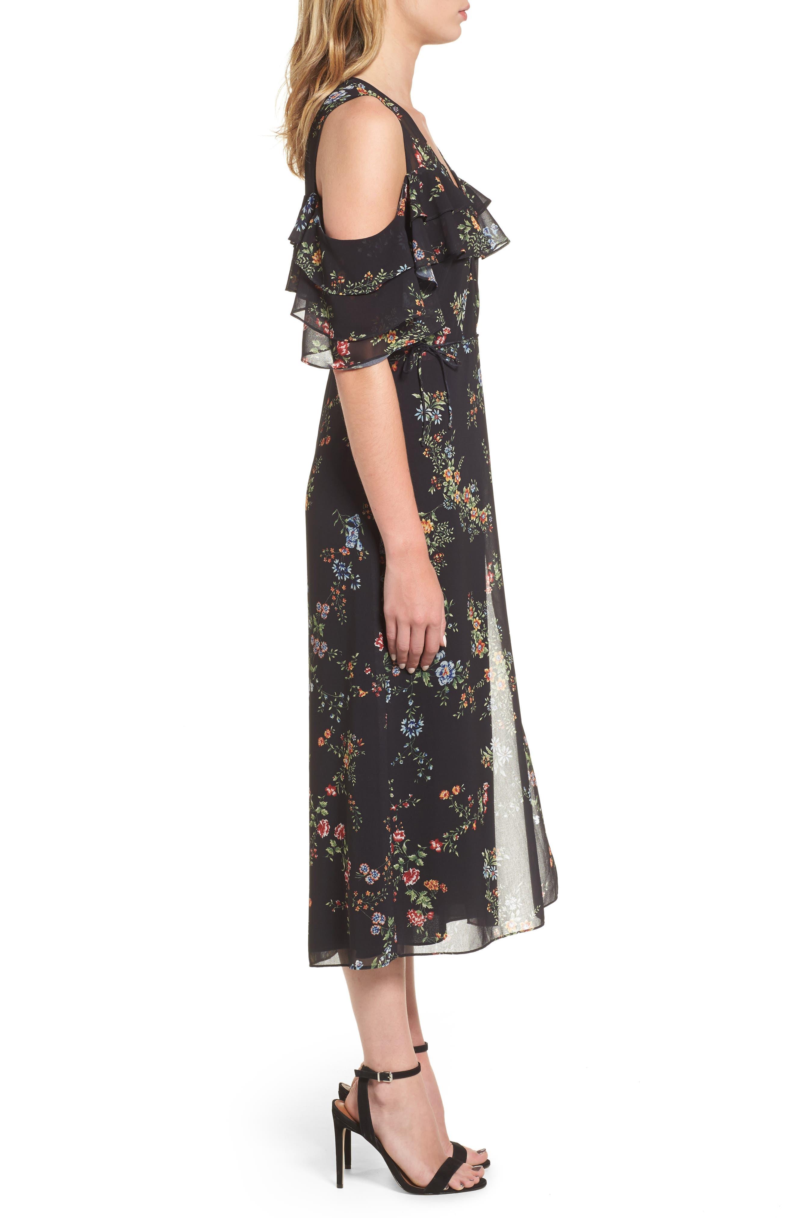 Daisy Wrap Midi Dress,                             Alternate thumbnail 3, color,                             001