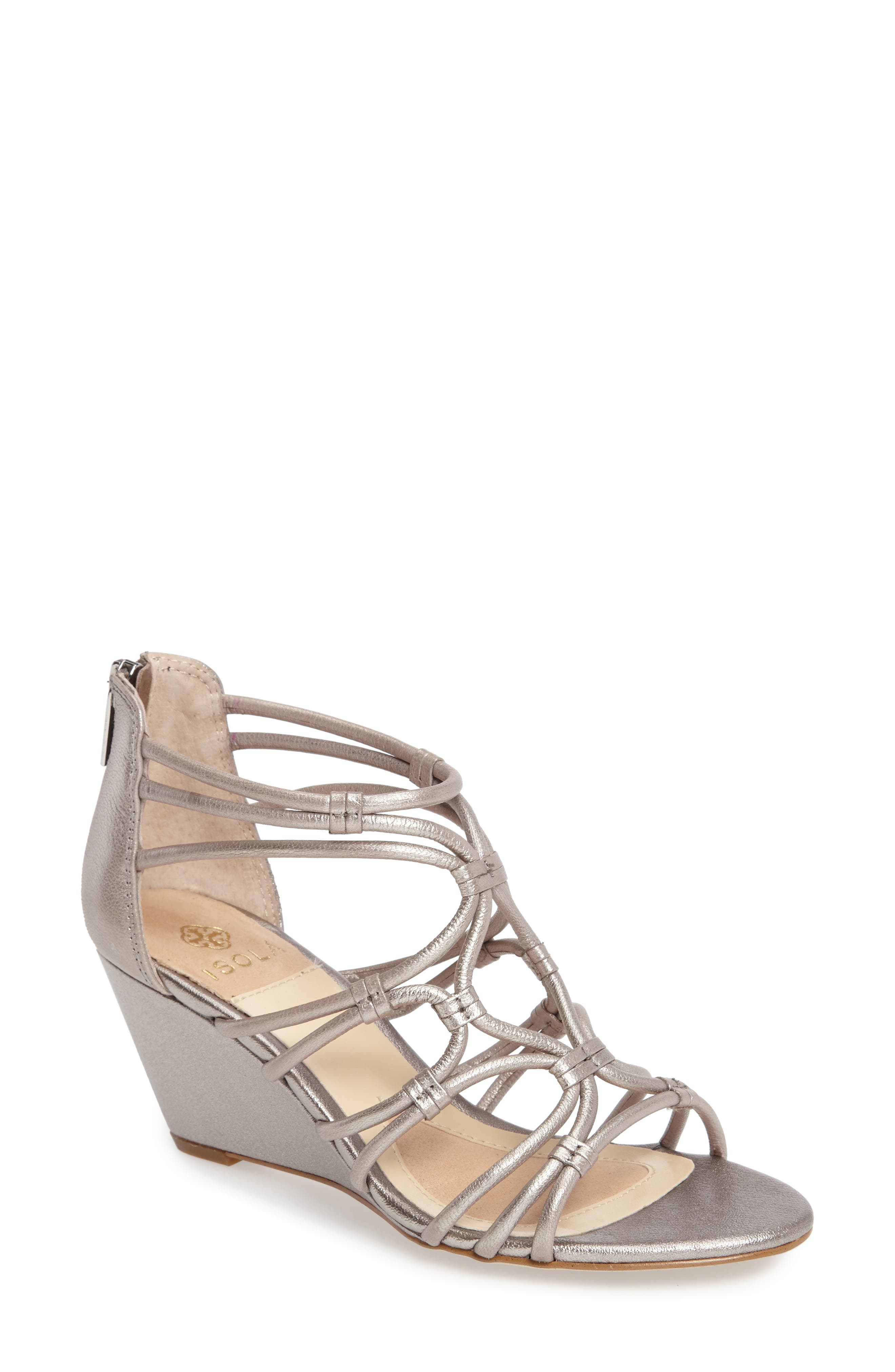 Floral Strappy Wedge Sandal,                             Main thumbnail 1, color,                             ANTHRACITE LEATHER