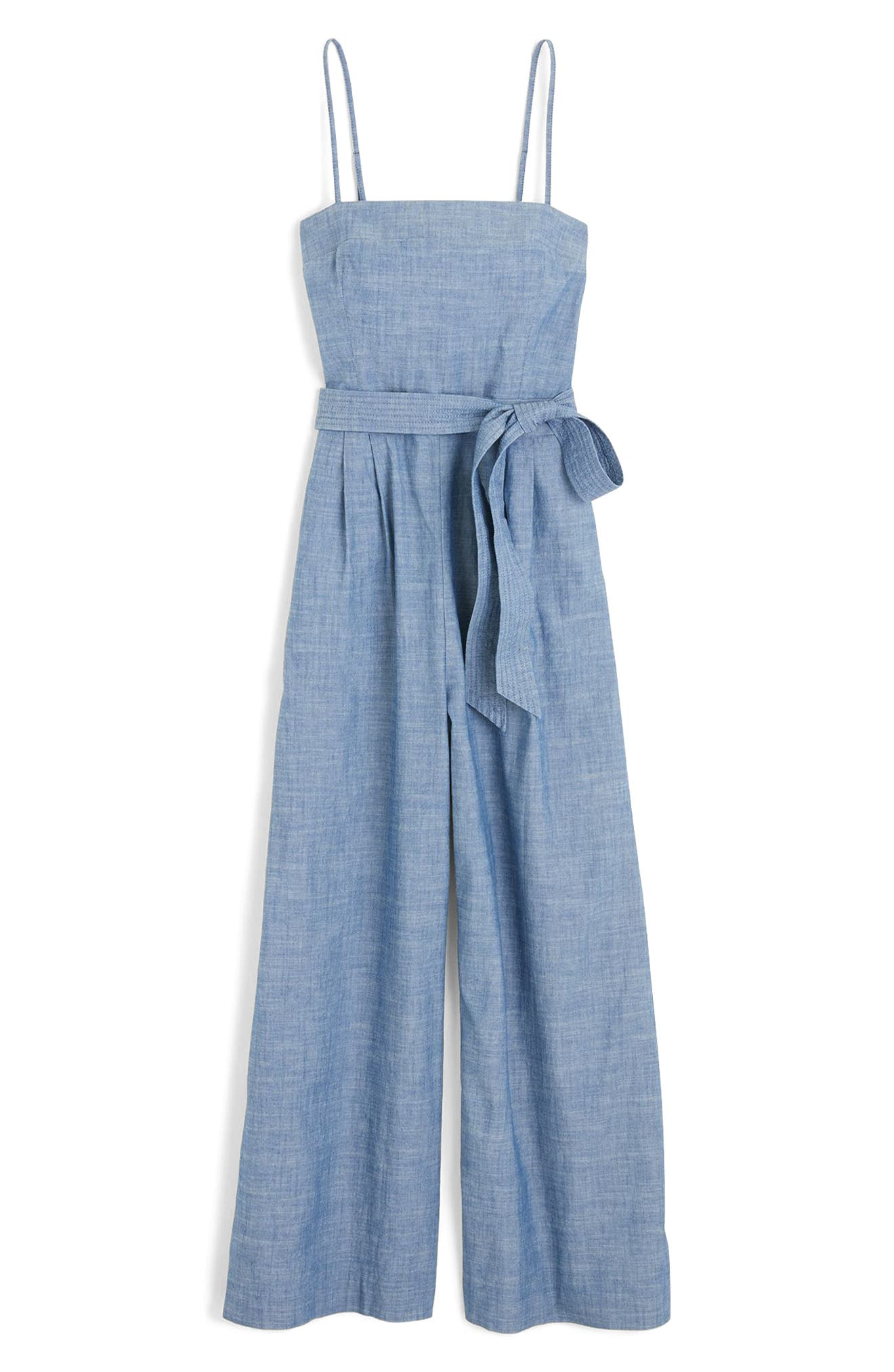 Marseille Cotton Chambray Jumpsuit,                             Alternate thumbnail 3, color,                             400