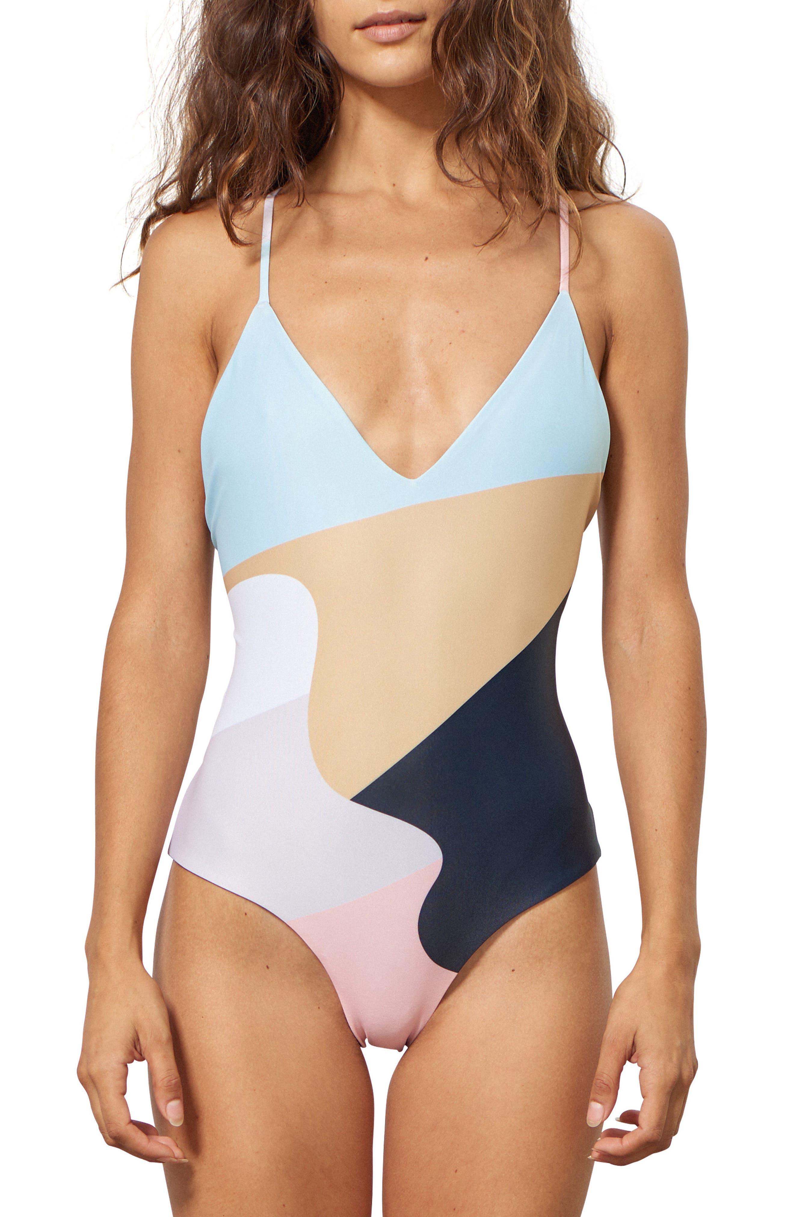 Emma One-Piece Swimsuit,                         Main,                         color, PEACH MULTI