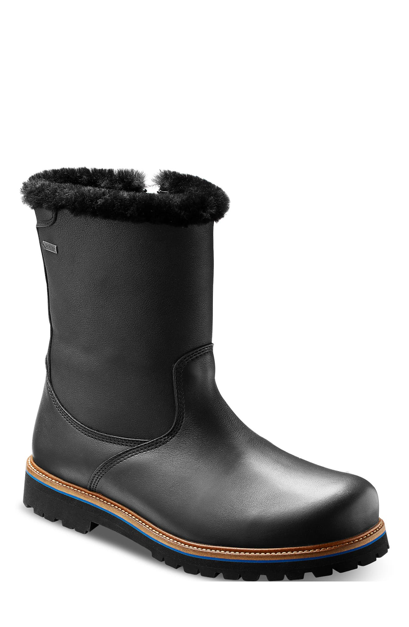Snow Lodge Waterproof Gore-Tex<sup>®</sup> Genuine Shearling Lined Boot,                             Main thumbnail 1, color,                             BLACK LEATHER