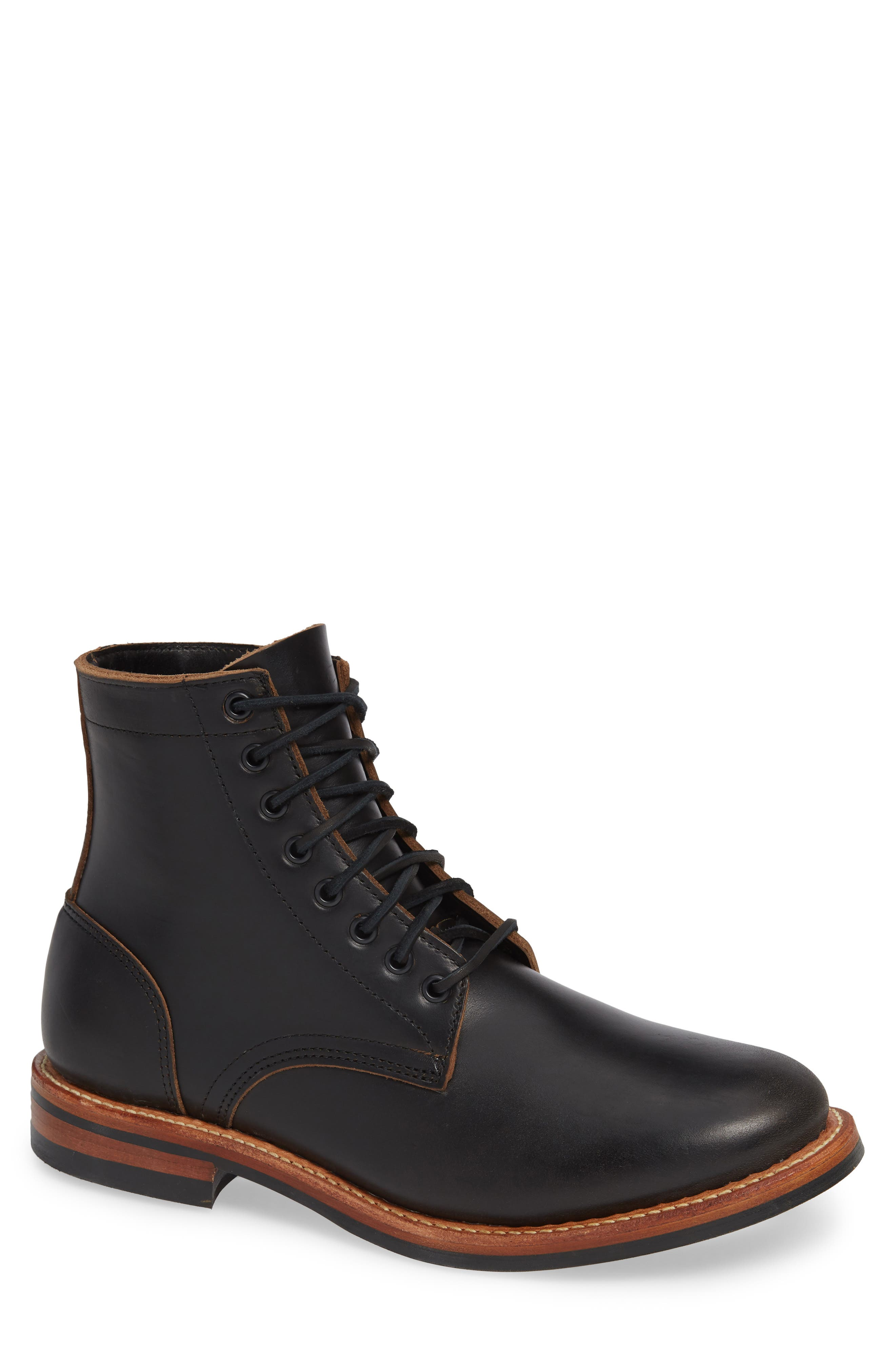 Trench Plain Toe boot,                         Main,                         color, BLACK LEATHER