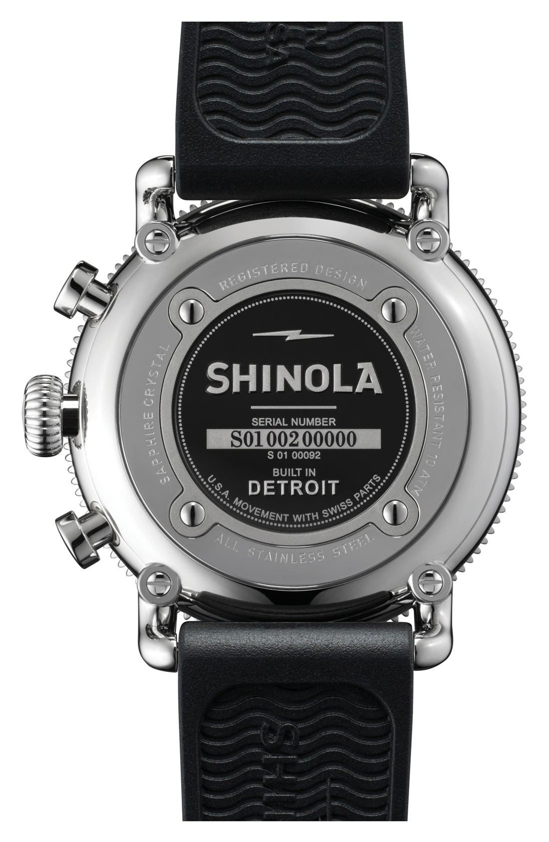 'The Runwell' Chronograph Rubber Strap Watch, 48mm,                             Alternate thumbnail 3, color,                             BLACK