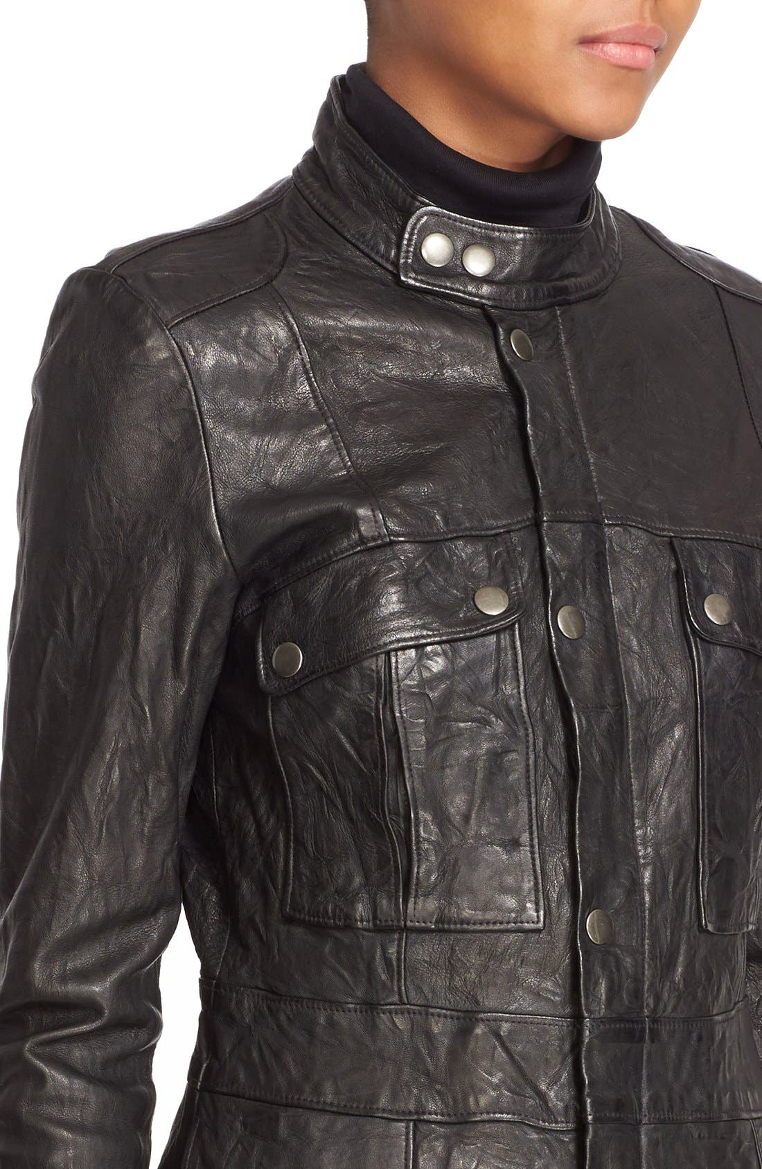 Leather Jacket,                             Alternate thumbnail 5, color,                             001