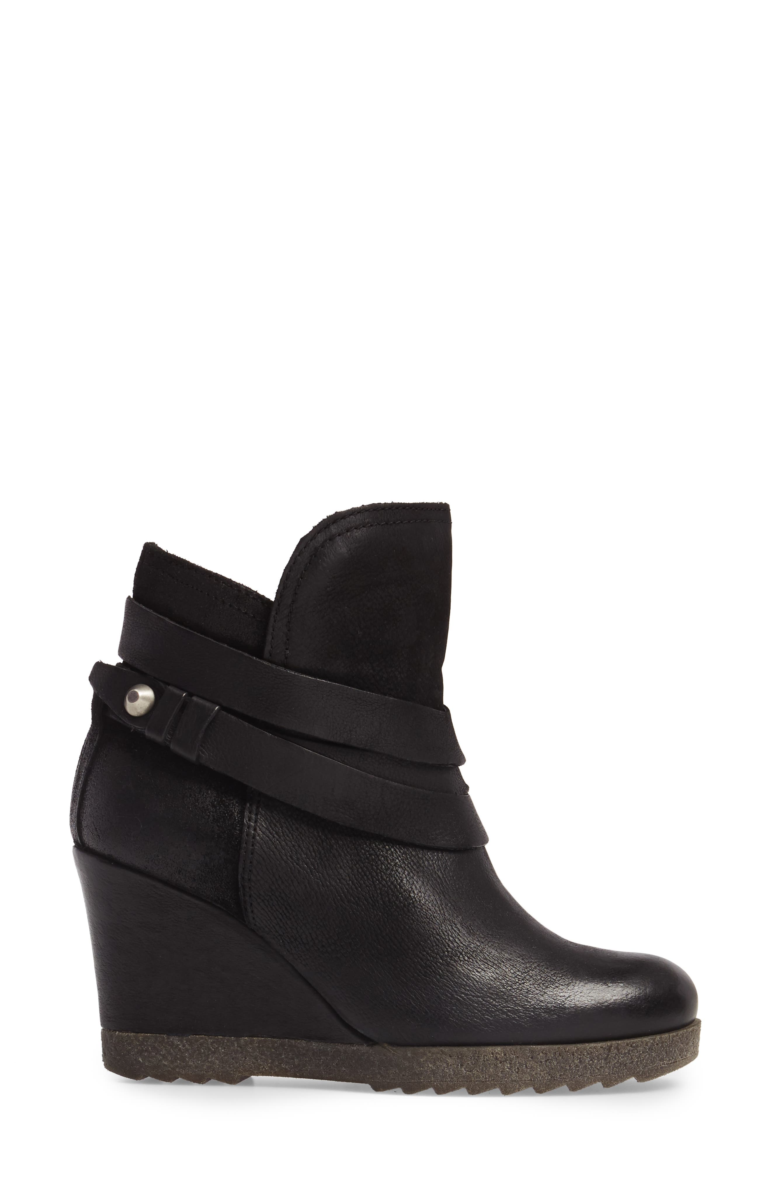 Narcissa Ankle Wrap Wedge Bootie,                             Alternate thumbnail 3, color,                             001