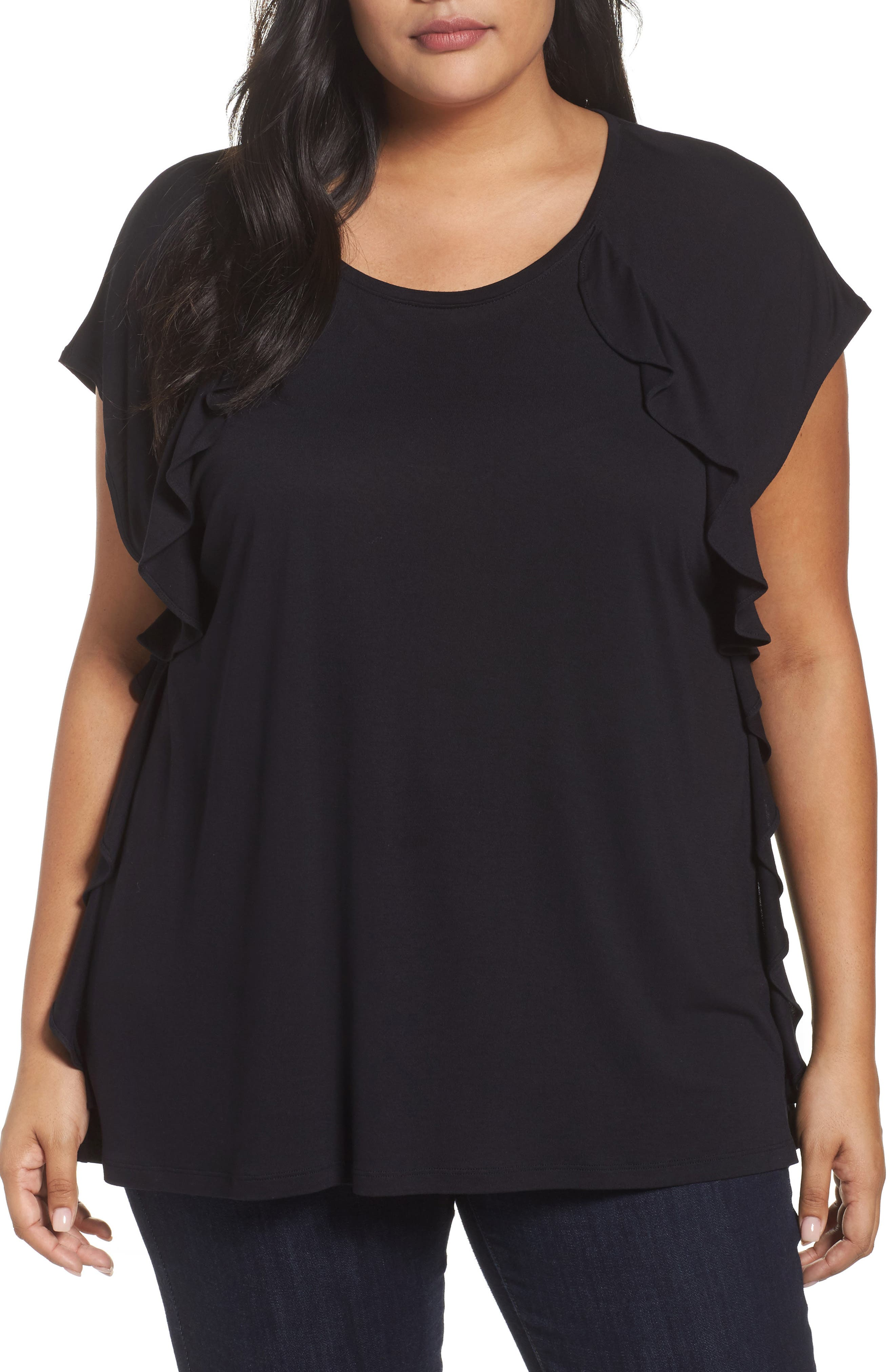 Ruffle Detail Top,                         Main,                         color, 001
