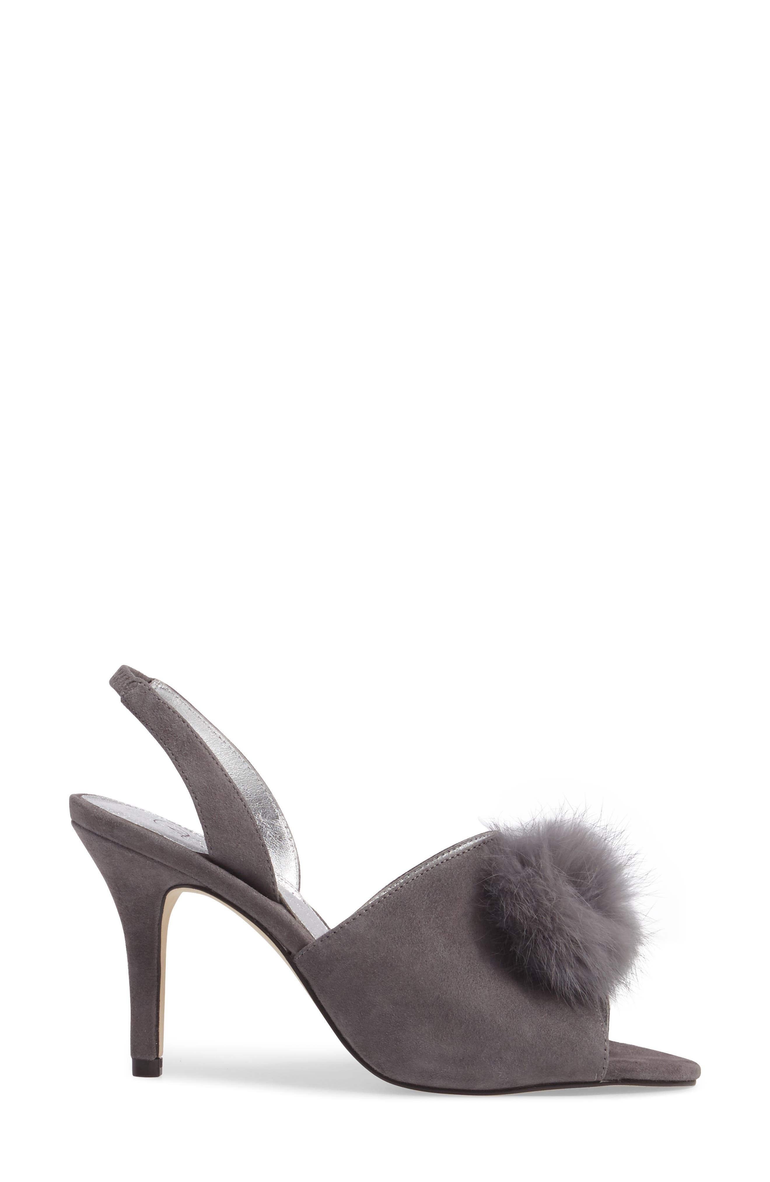 Alecia Genuine Rabbit Fur Pompom Sandal,                             Alternate thumbnail 6, color,