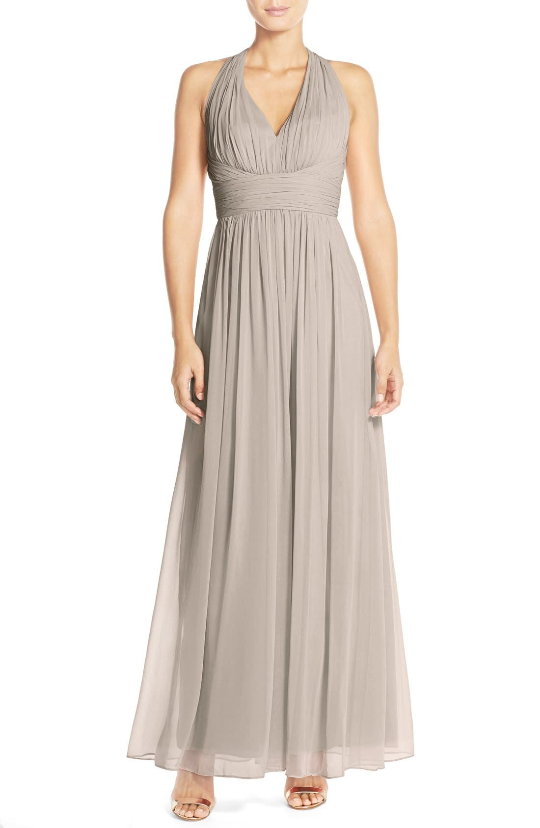 Dessy Collection Ruched Chiffon V-Neck Halter Gown,                             Main thumbnail 2, color,